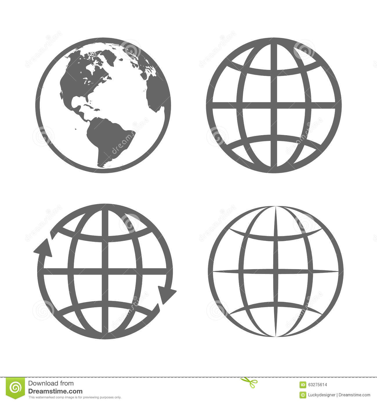 Earth Globe Emblem Logo Template Icon Set Vector Stock