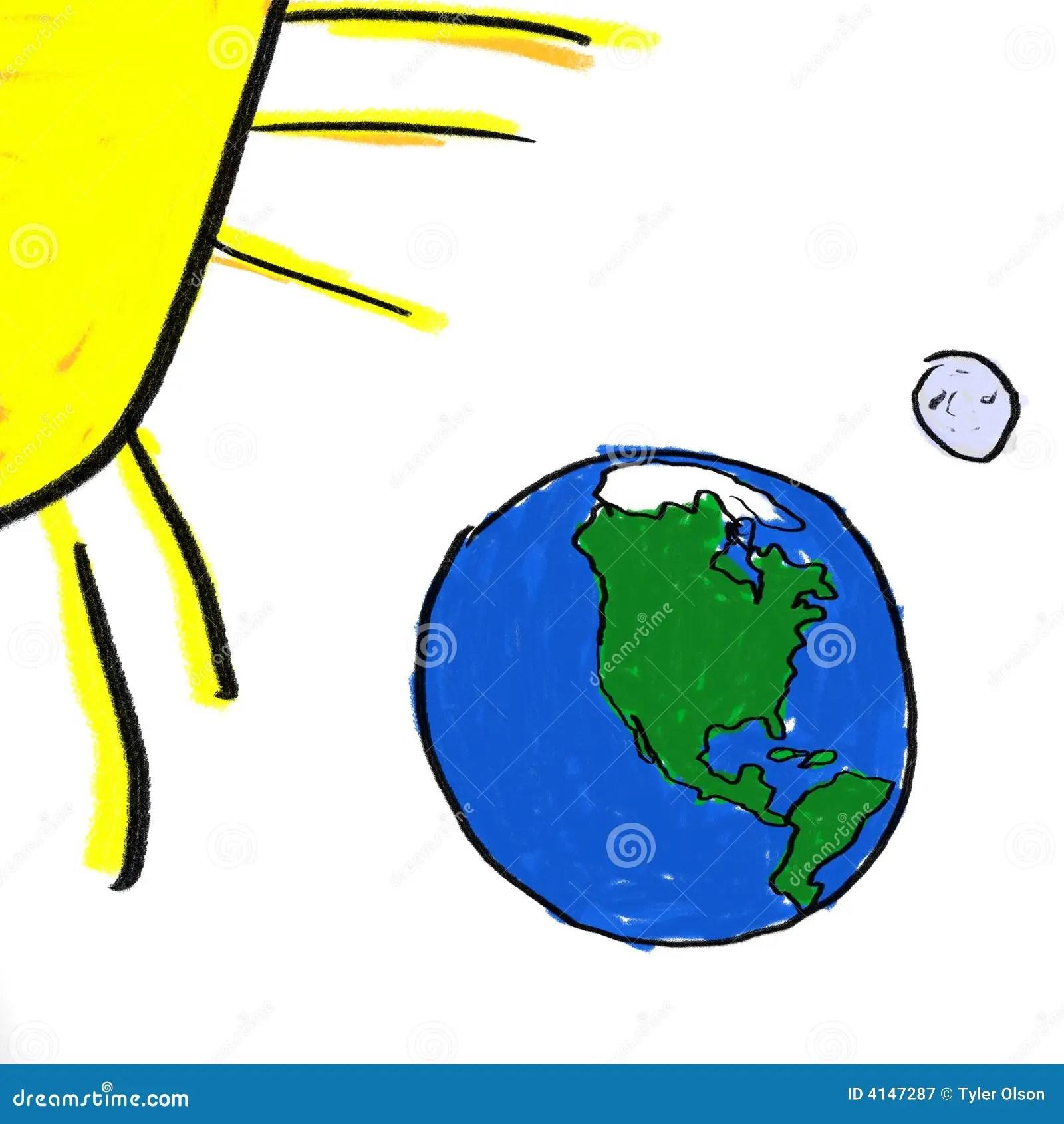 Earth Moon Sun Stock Illustration Illustration Of North