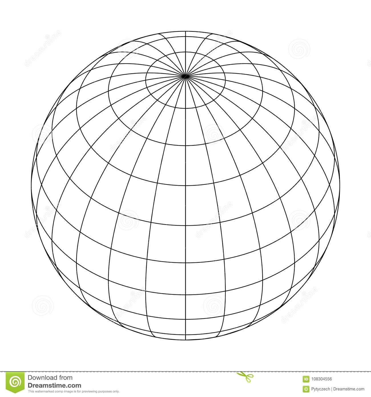 Earth Planet Globe Grid Of Meridians And Parallels Or