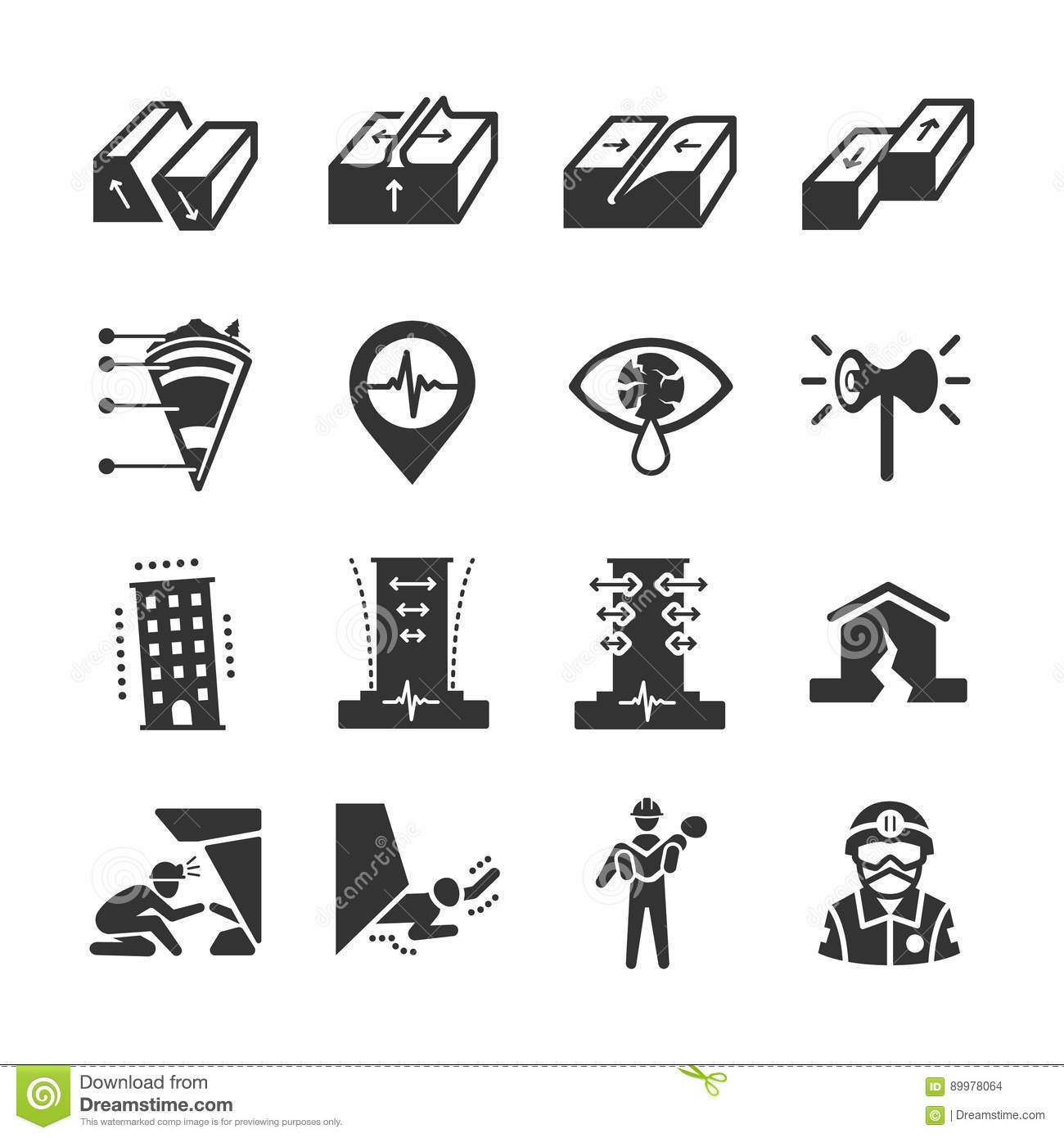 Earthquake And Geology Icons Stock Vector
