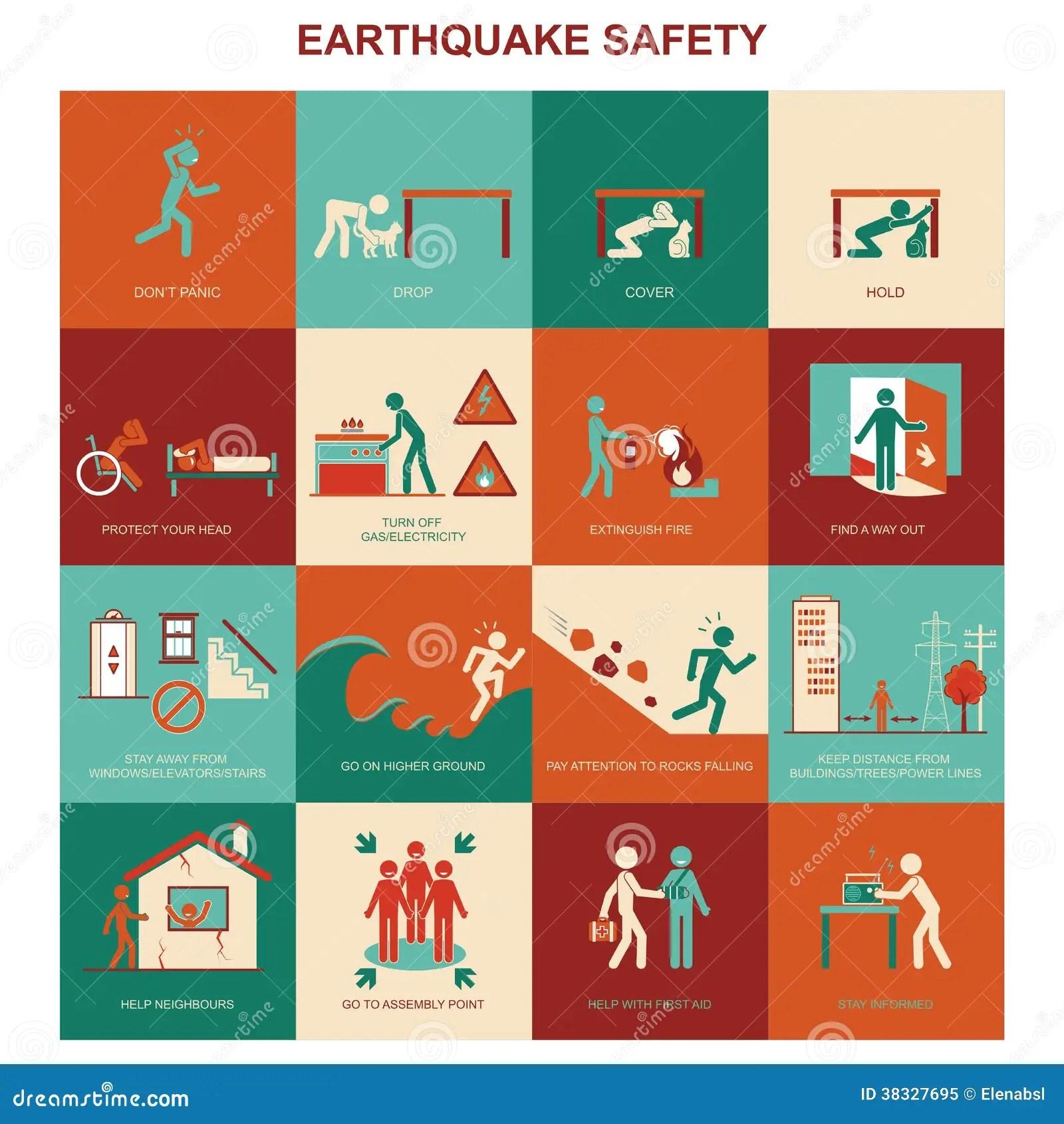 Earthquake Safety Stock Illustration Illustration Of