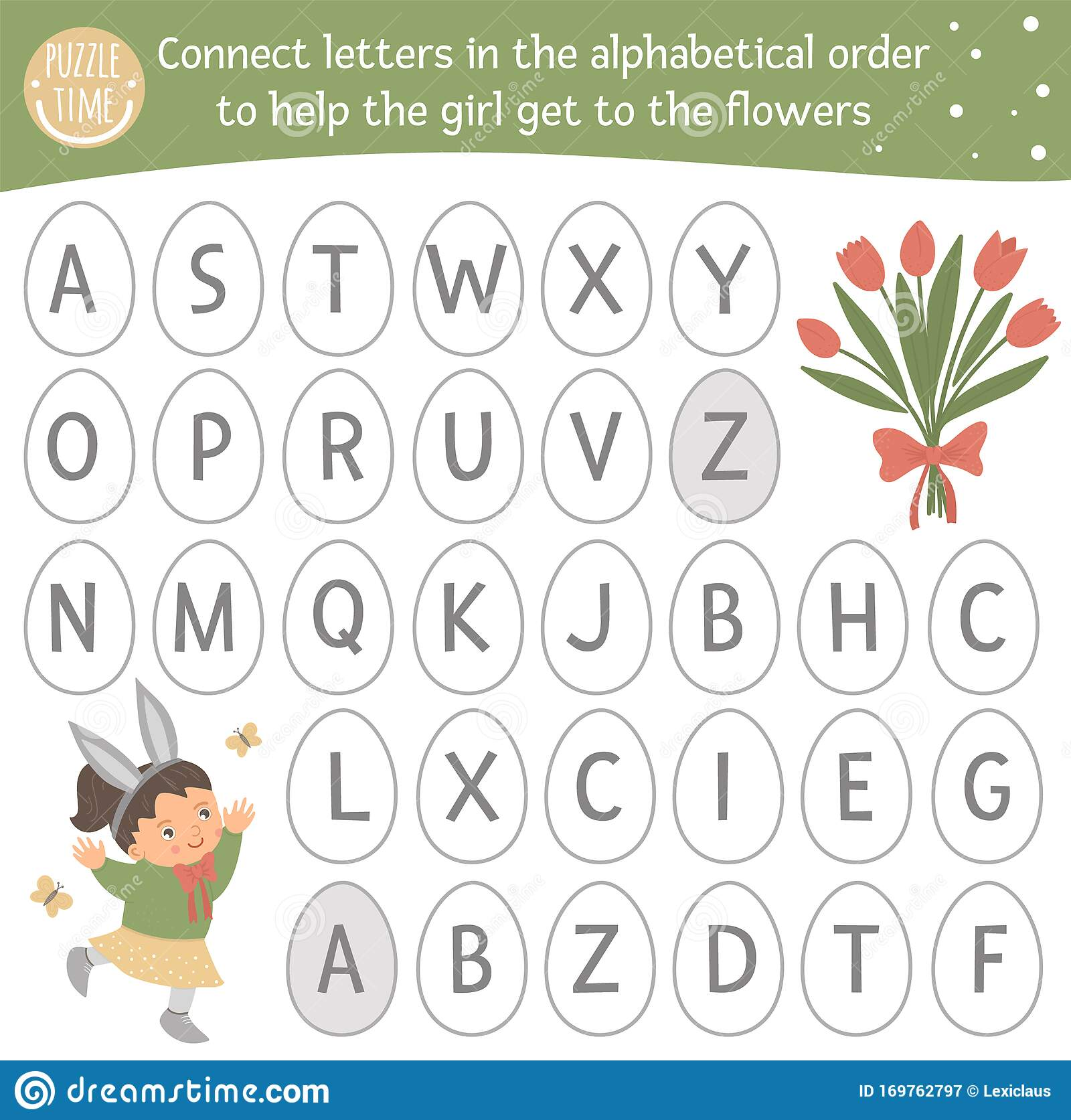 Easter Abc Game With Cute Characters Spring Alphabet Maze