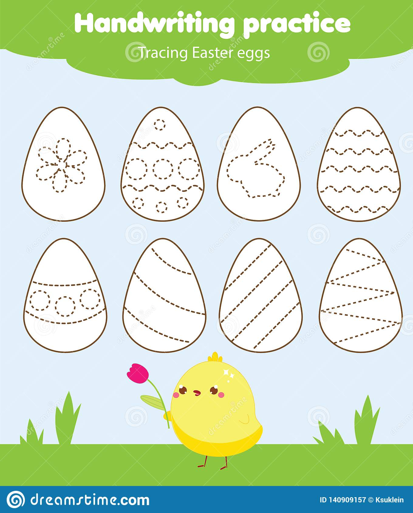 Easter Activity Handwriting Practice Tracing Lines For