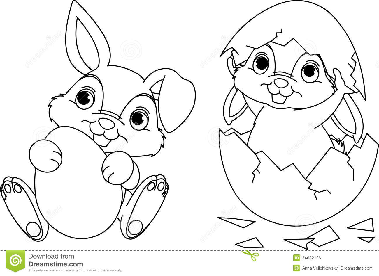 Easter Bunny Coloring Page Stock Vector Illustration Of