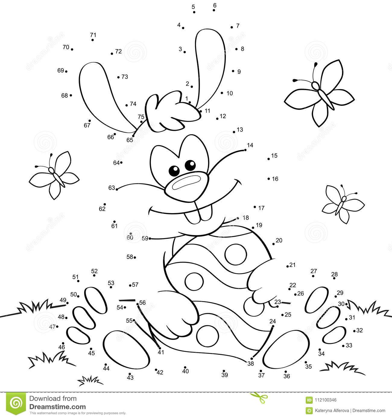 Easter Bunny With Egg Dot To Dot Game Stock Vector