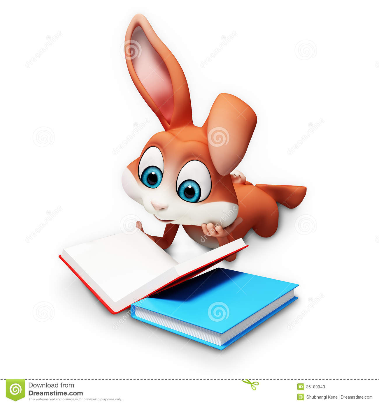 Easter Bunny Reading A Books Stock Illustration