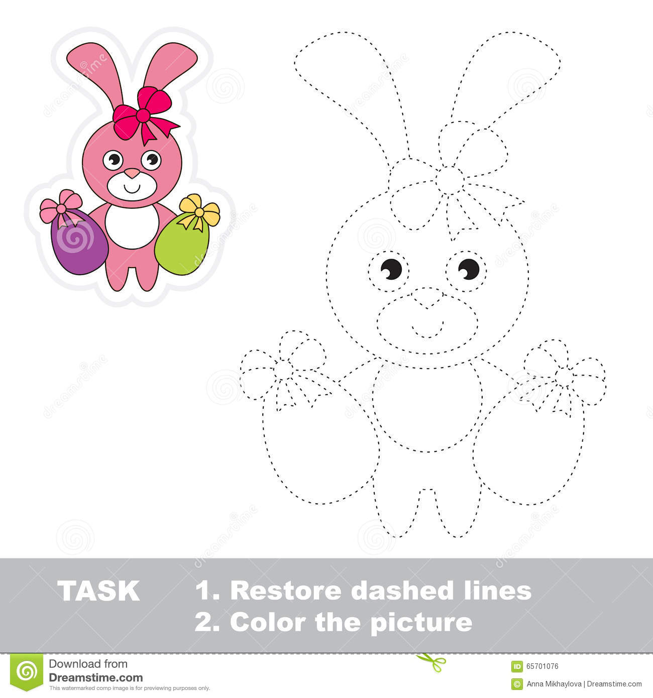Cartoon Hare Vector Illustration Coloring And Dot To Dot Game Cartoon Vector