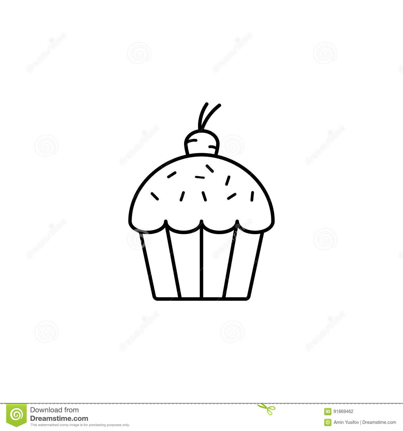 Easter Cake With Carrot Line Icon Stock Vector