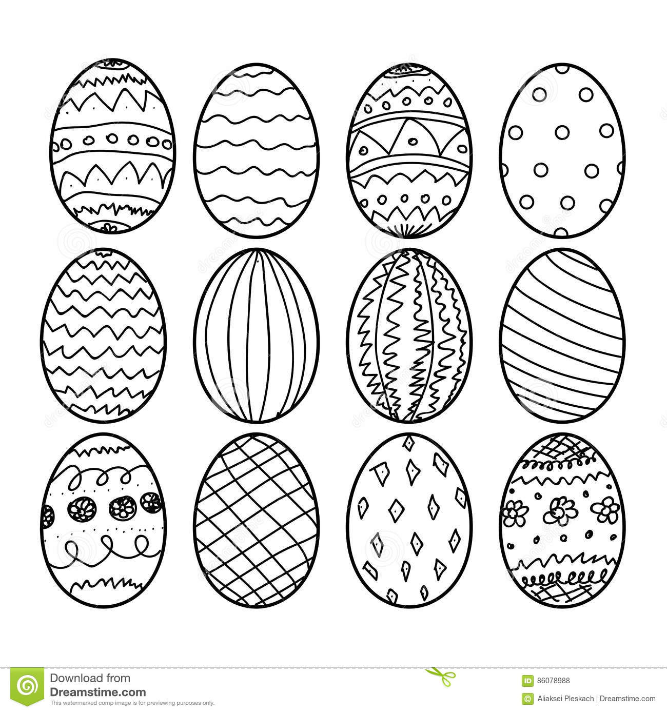 Zentangle Easter Eggs For Coloring Book For Adult Cartoon