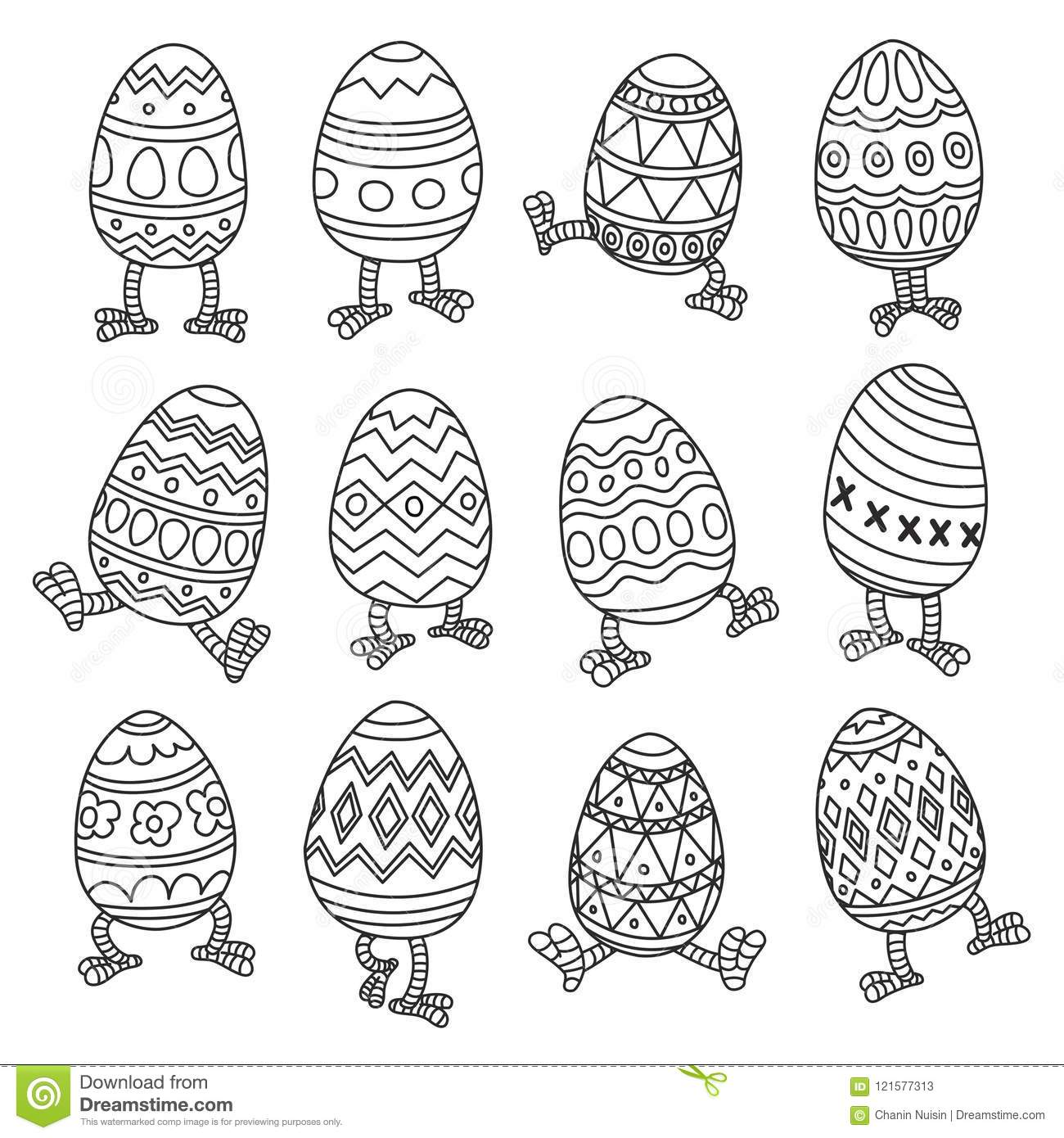Set Of Easter Vector Clip Art With Chicks Eggs Cartoon