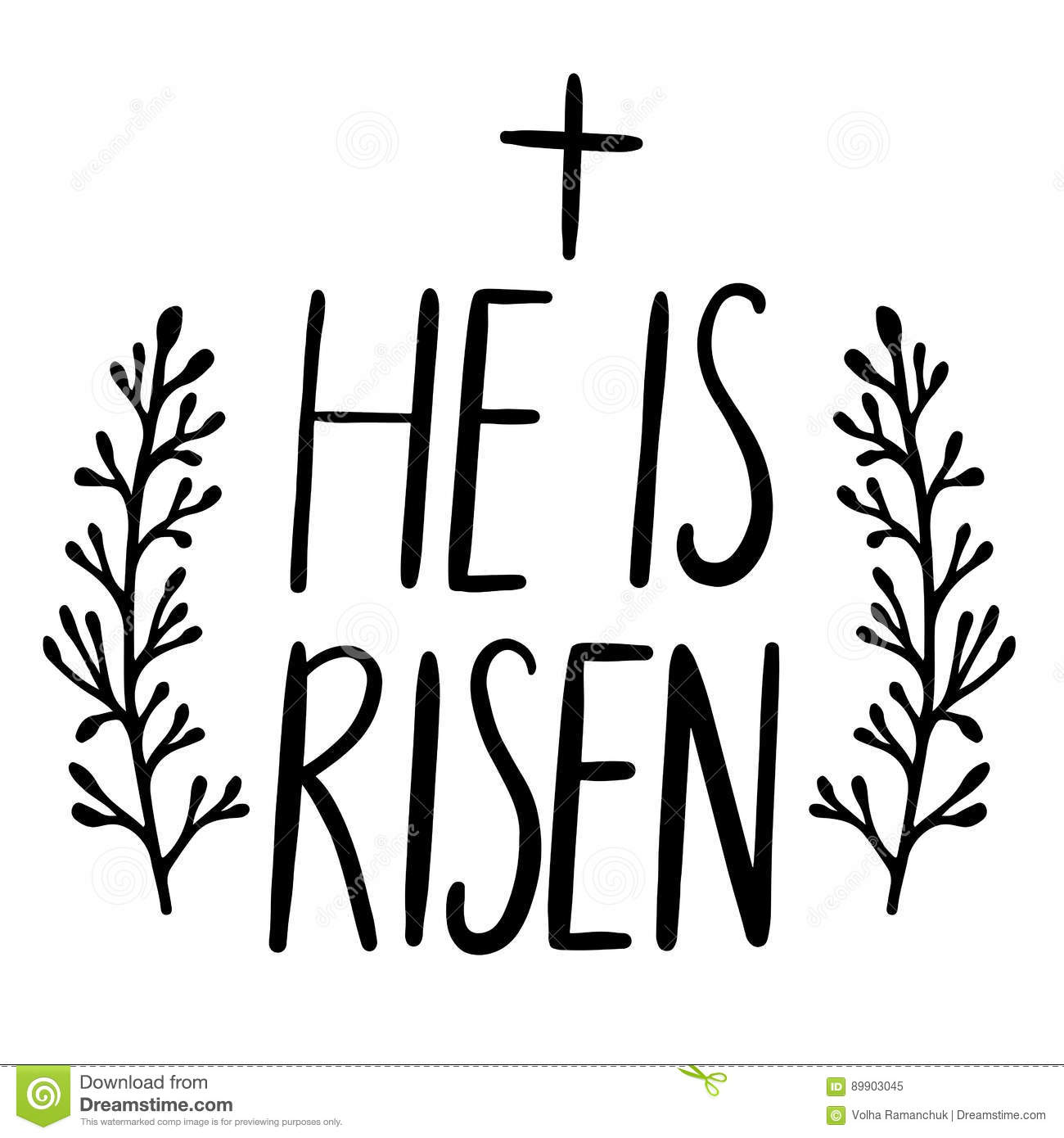 Easter Holiday Celebration He Is Risen Handwriting