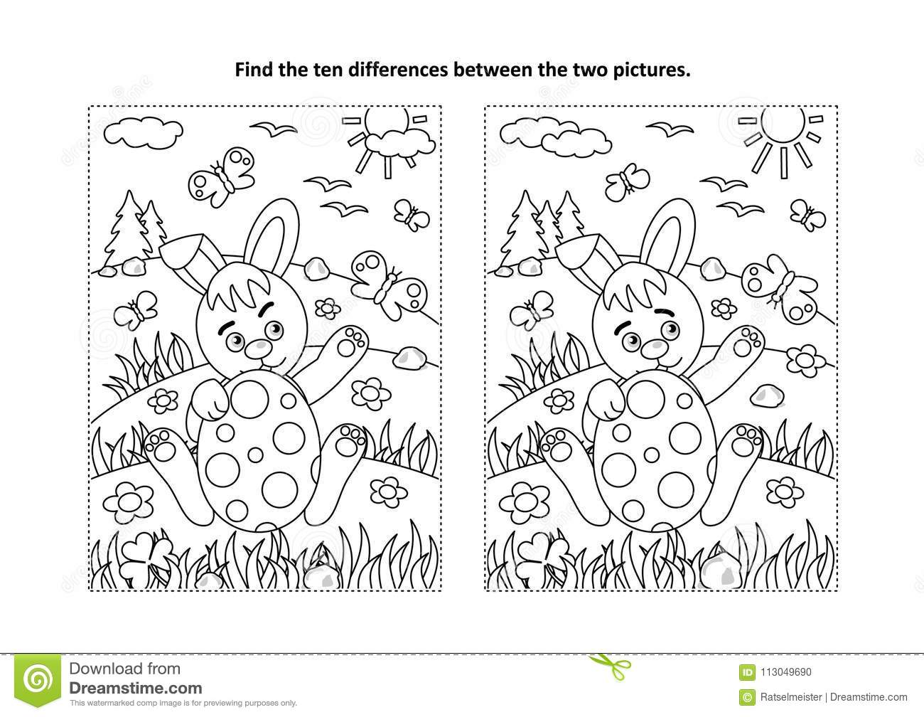 Easter Find The Differences Visual Puzzle And Coloring
