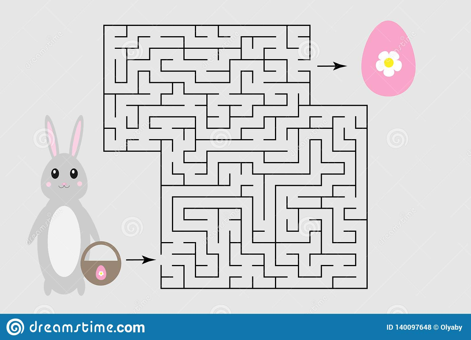 Easter Labyrinth Game Help The Bunny To Find A Way Out Of