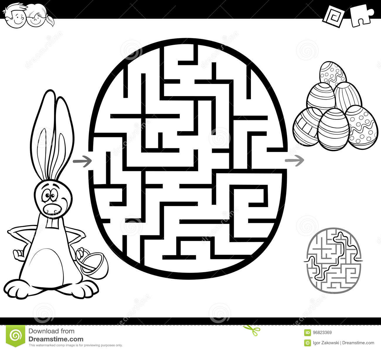 Easter Maze Activity For Coloring Stock Vector