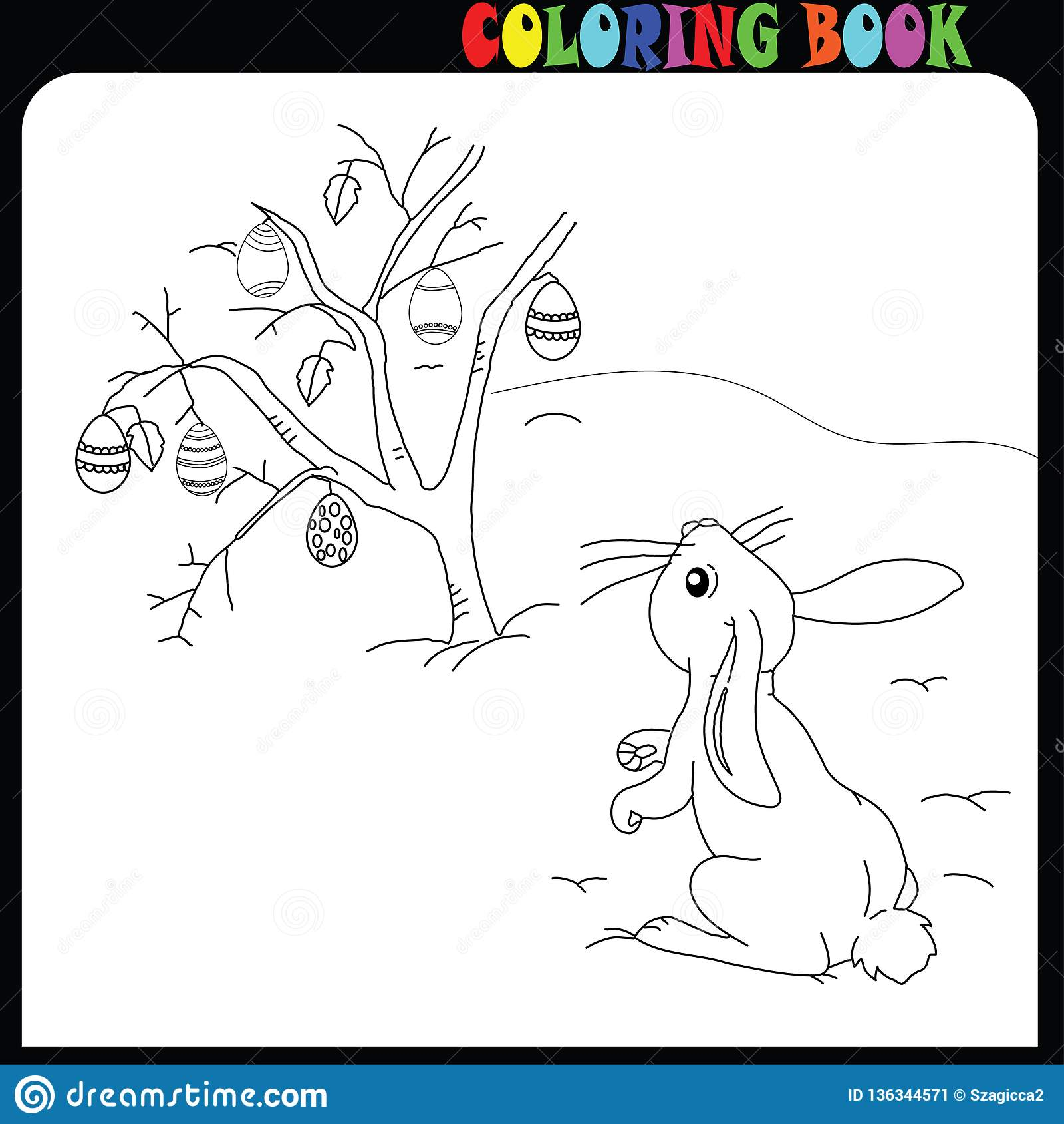 Easter Time Drawing Worksheet Child Bunny Stock Vector