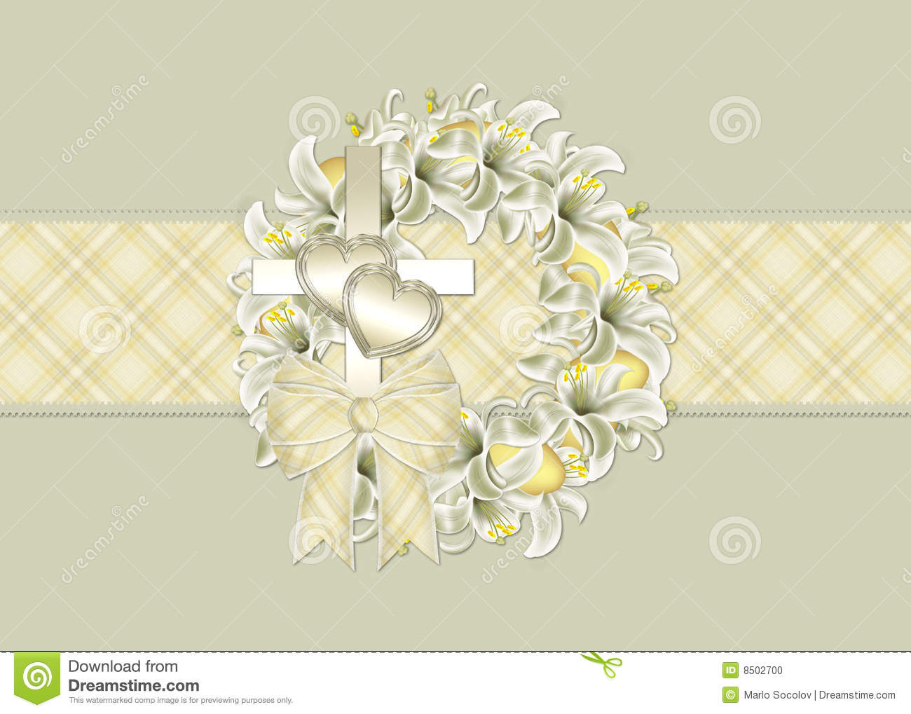 Easter Wreath Christian Greeting Card Stock Photo Image