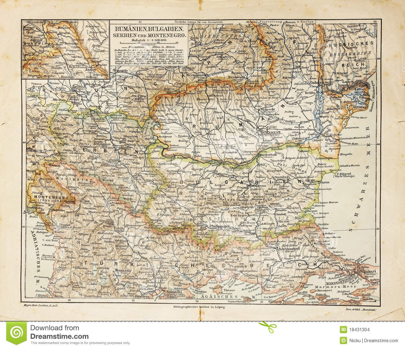 Eastern Europe Old Map Stock Images
