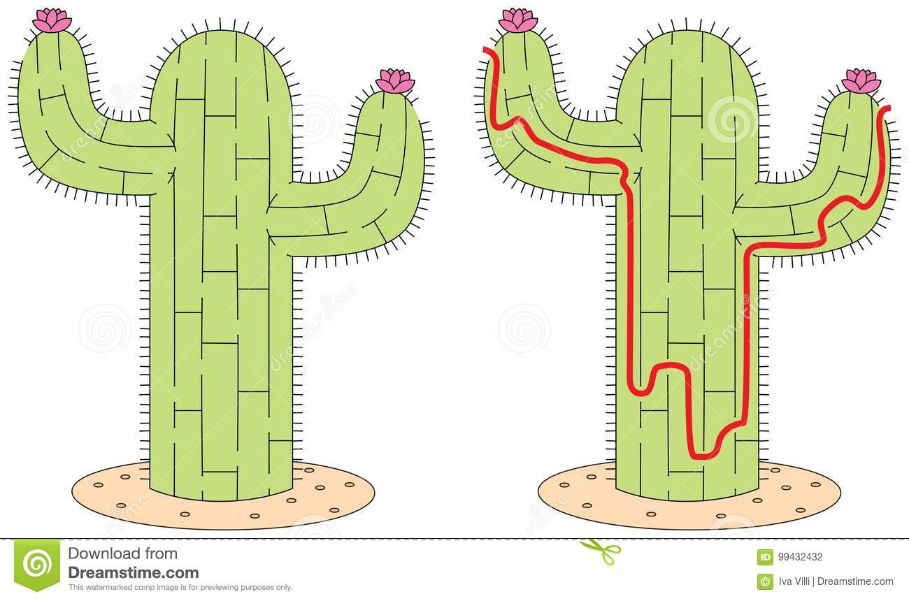 Easy Cactus Maze Stock Vector Illustration Of Activity