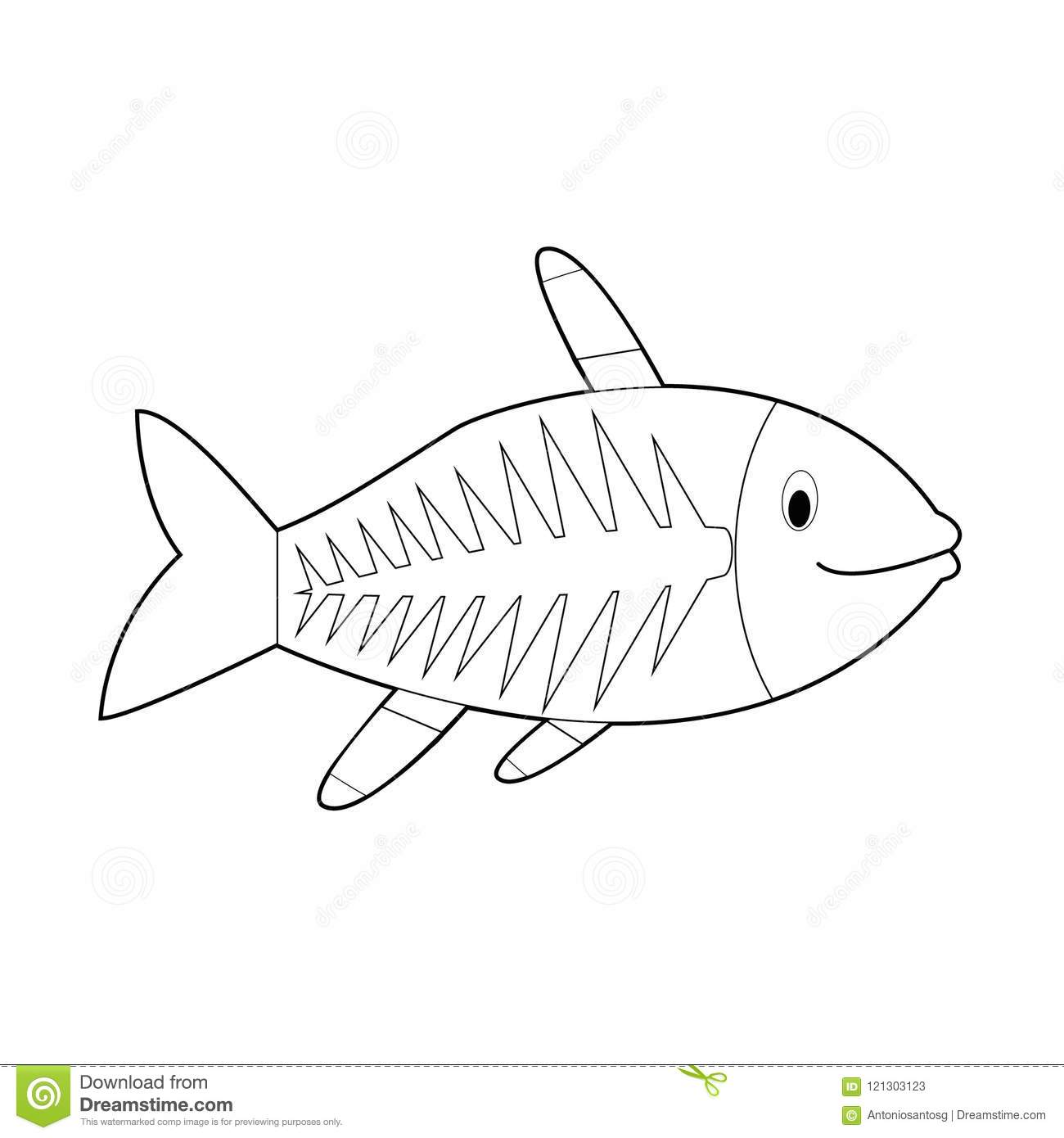 Easy Coloring Animals For Kids X Ray Fish Stock Vector