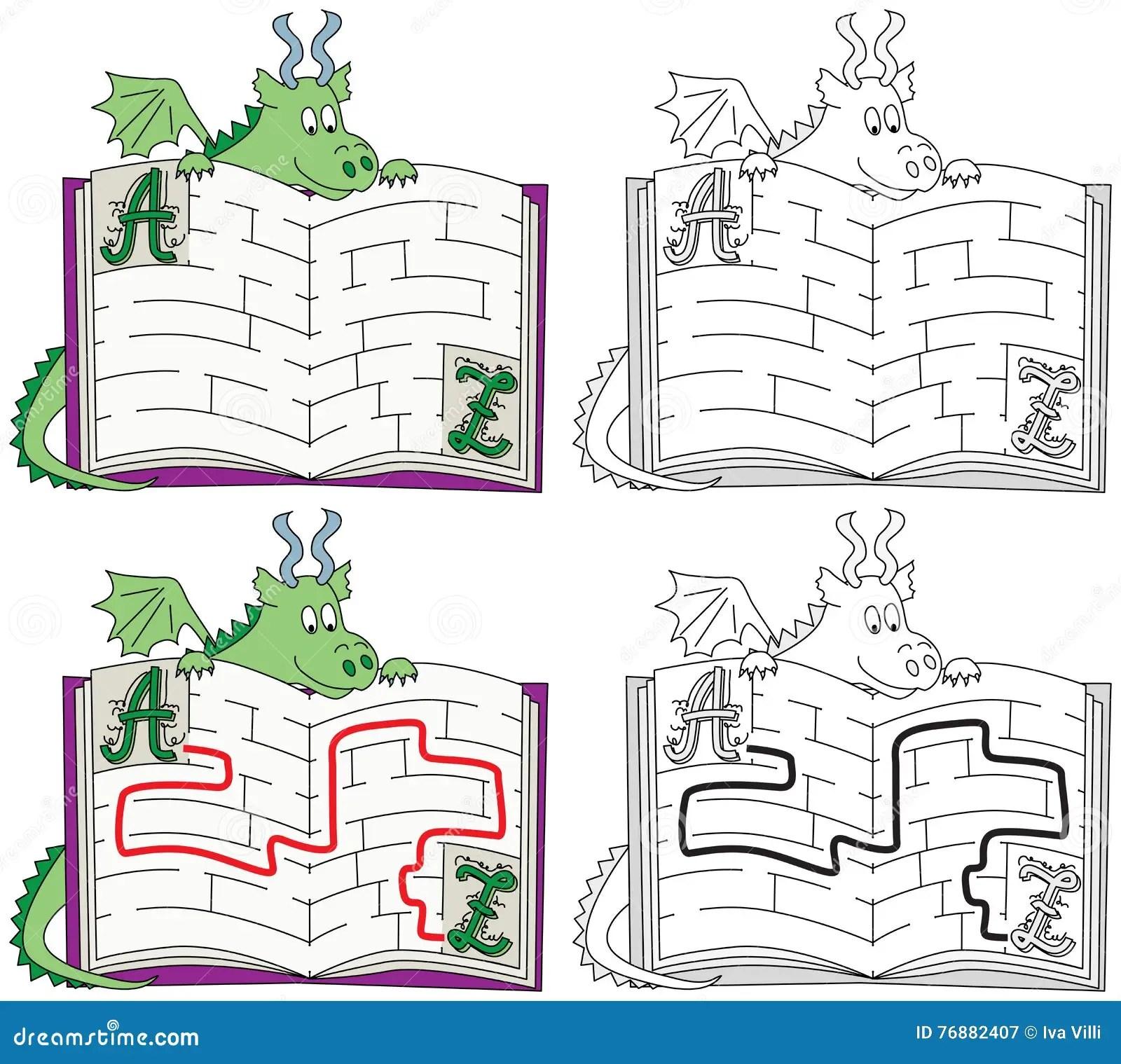 Easy Dragon Maze Stock Vector Illustration Of Worksheet