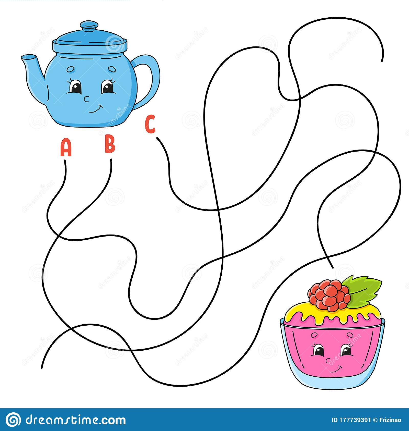 Easy Maze Teapot And Cake Labyrinth For Kids Activity