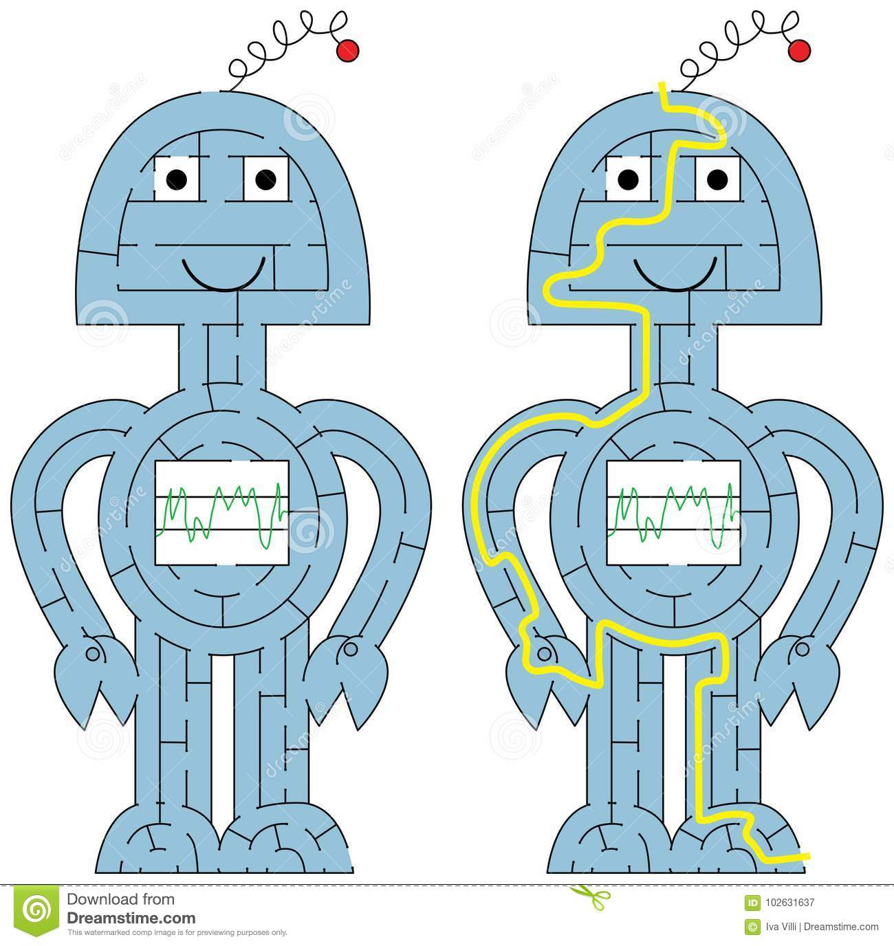 Easy Robot Maze Stock Vector Illustration Of Composition