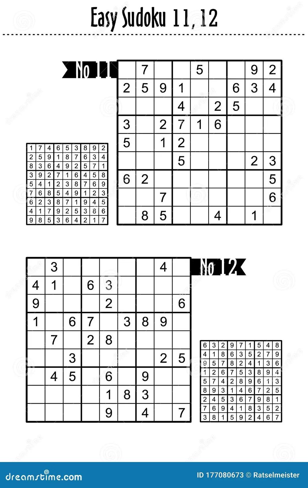 Easy Level Sudoku Puzzles 11 12 Stock Vector