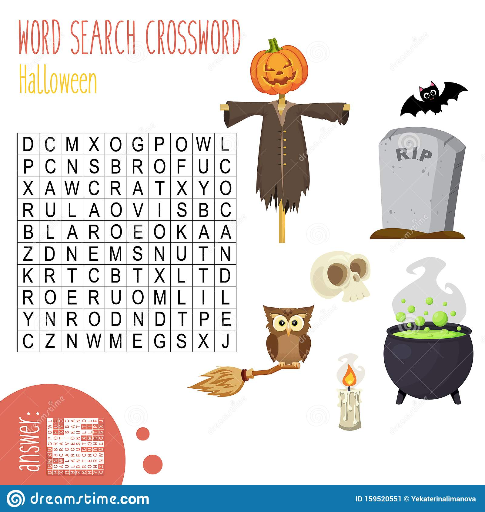 Easy Word Search Crossword Puzzle For Children In