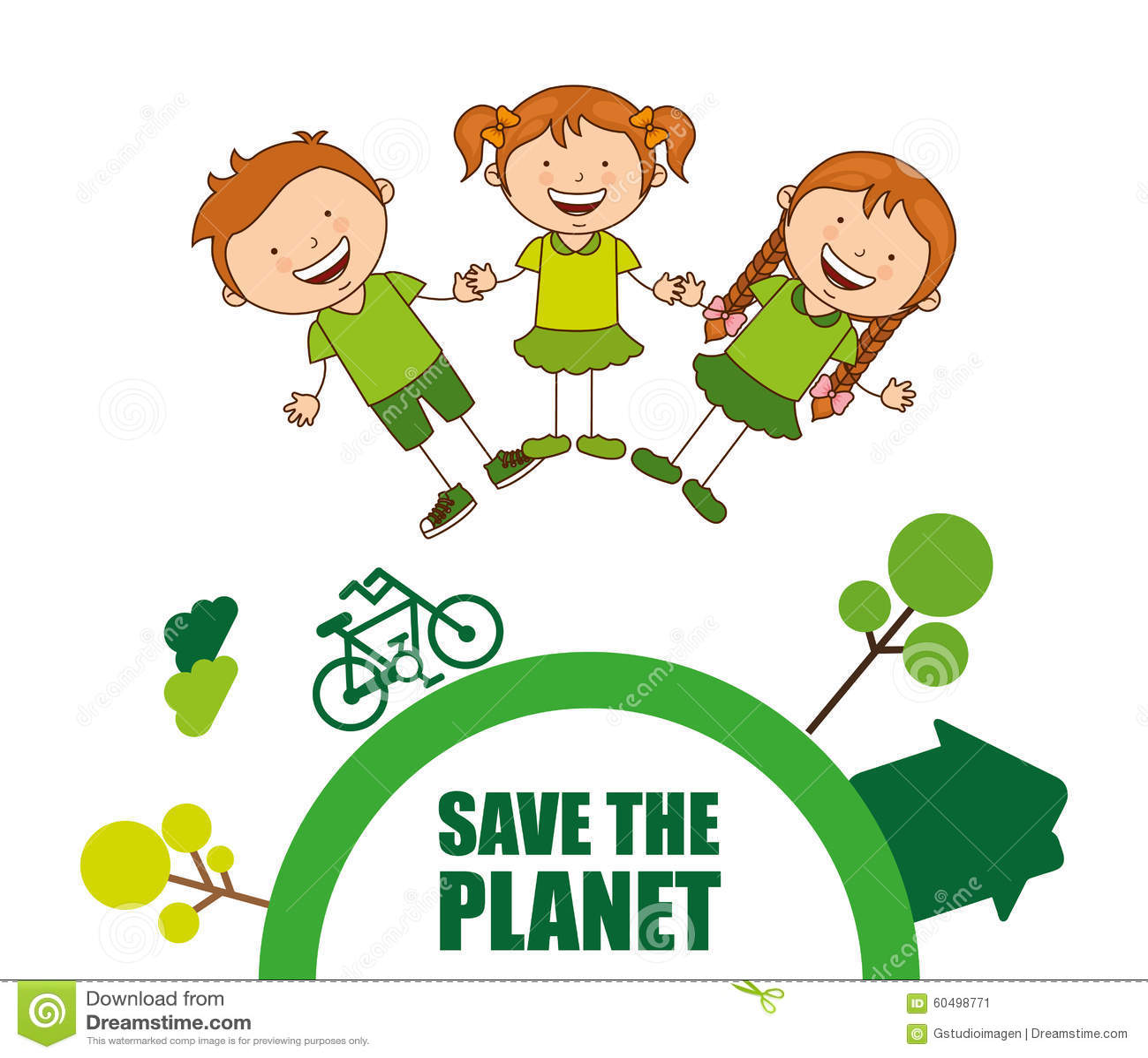 Ecological Kids Stock Vector Illustration Of Tree