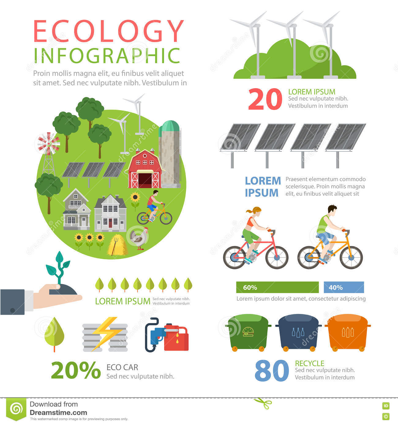 Ecology Friendly Flat Infographics Eco Food Recycling