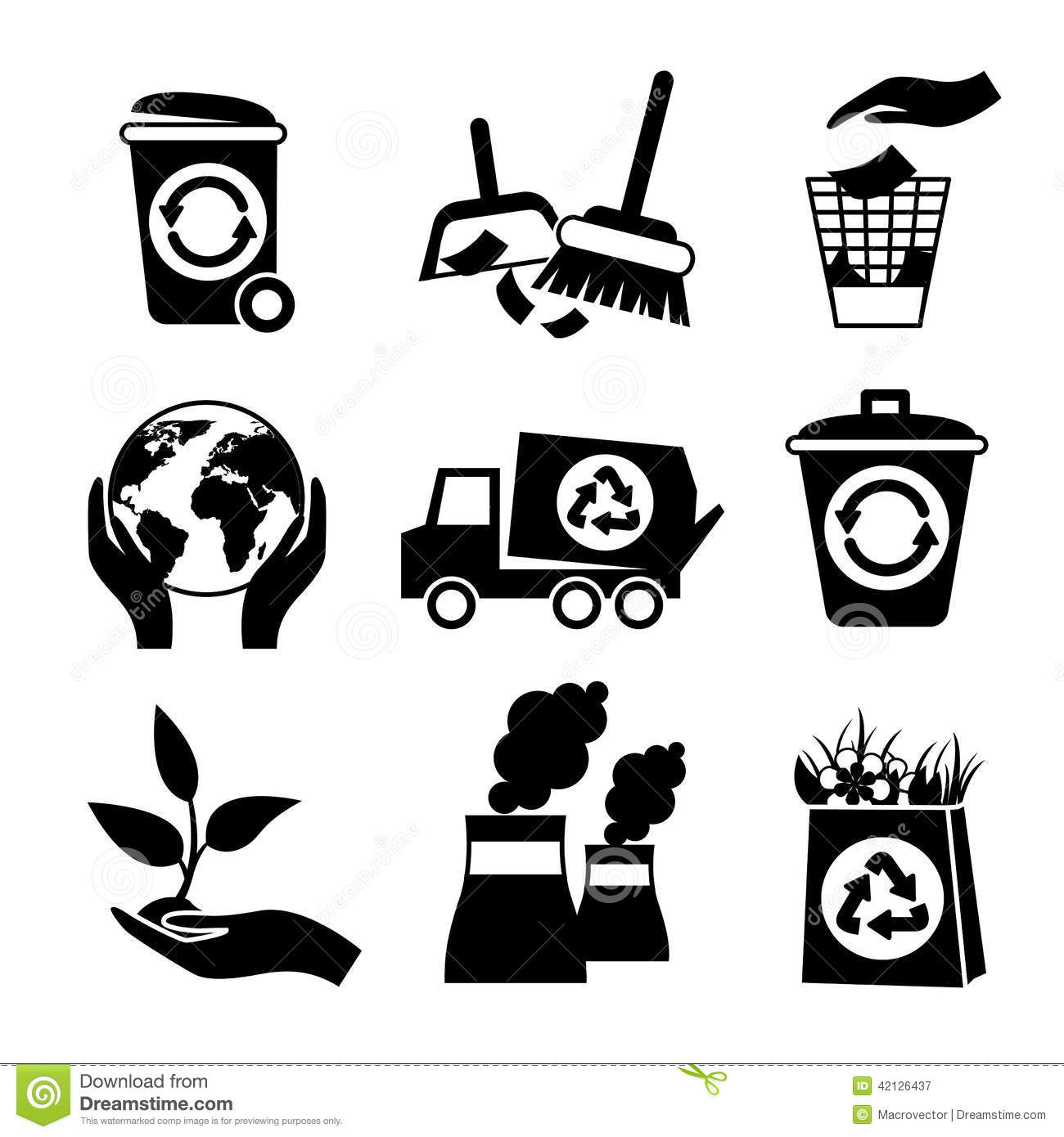 Ecology Icon Set Black And White Stock Vector