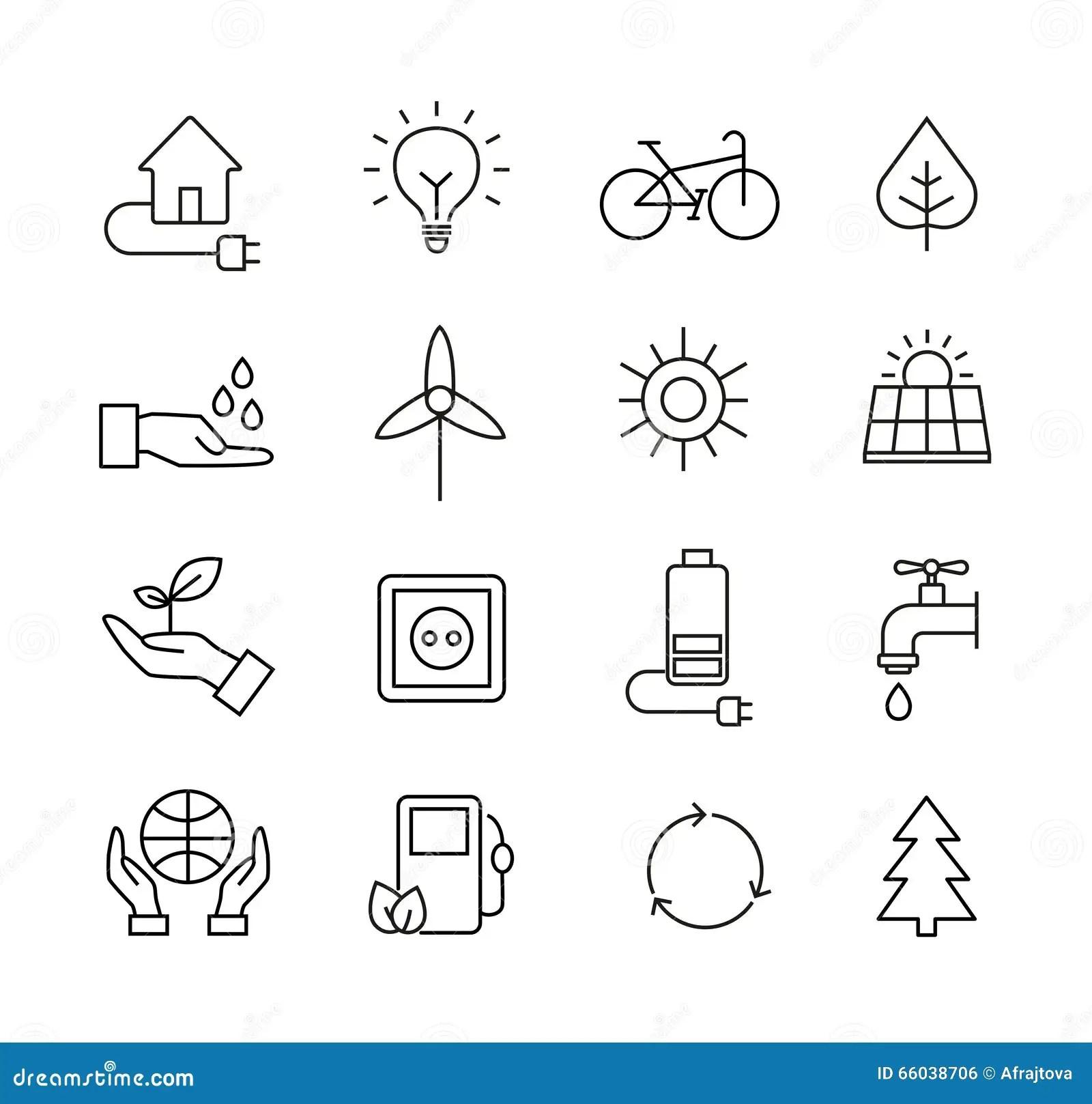 Ecology Icons Organic Natural Symbols Vector Illustration