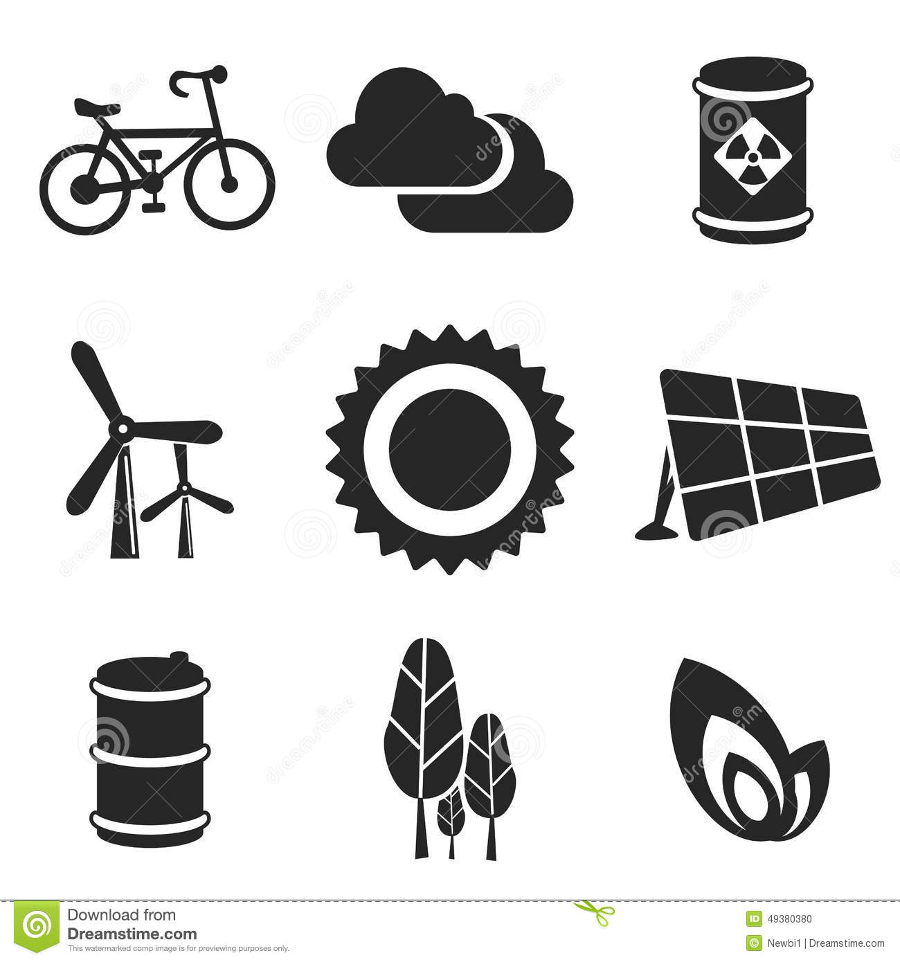 Ecology Web And Mobile Icons Set Vector Stock Vector