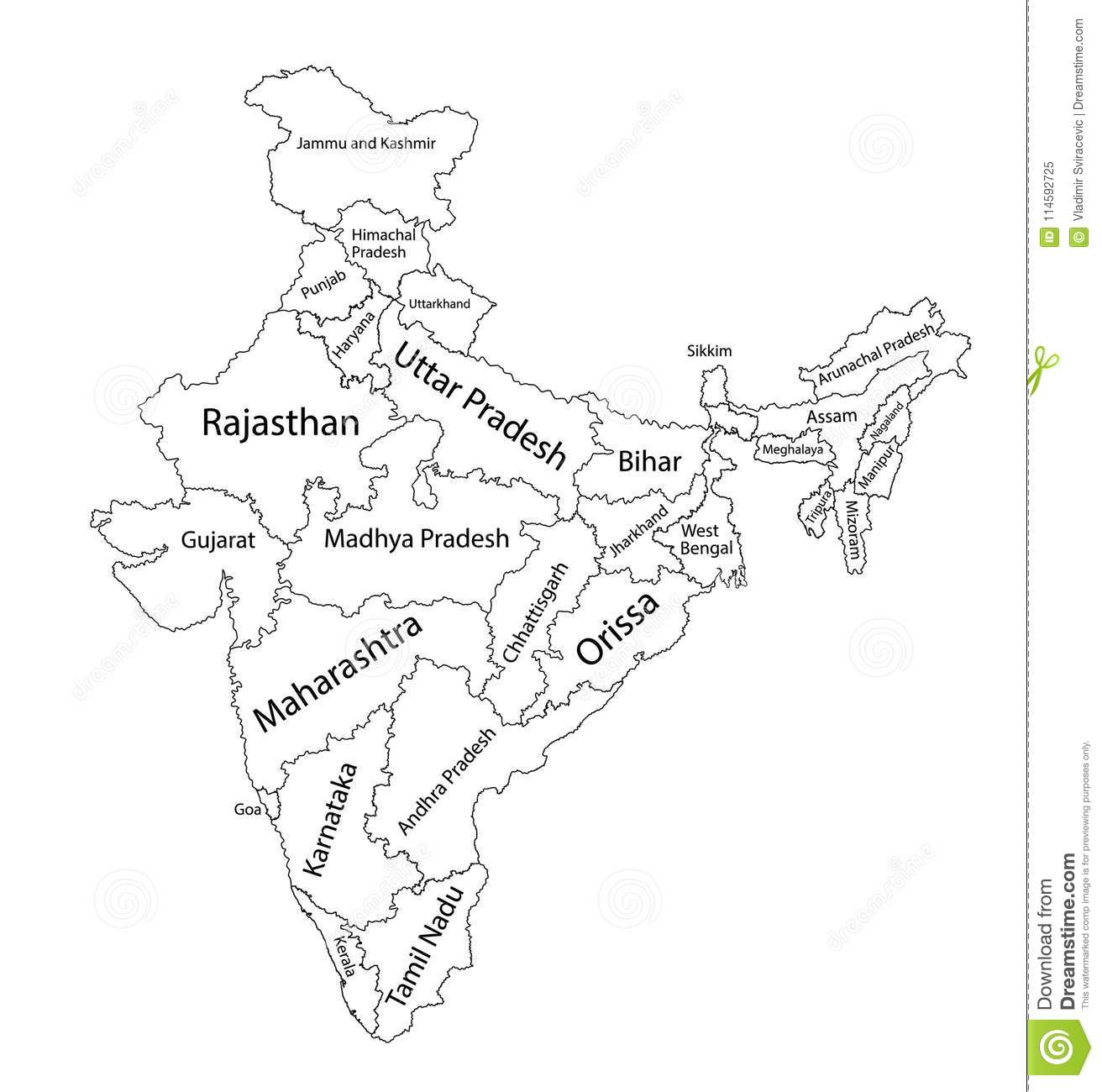 Editable Blank Map Of India Administrative Divisions Of