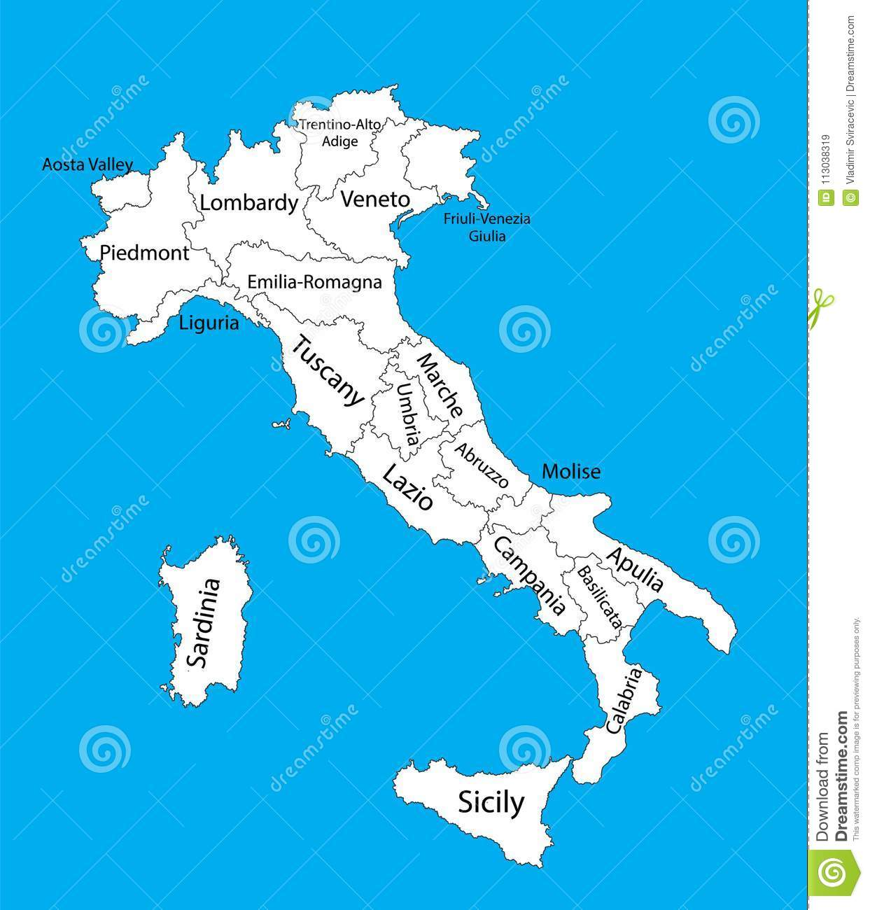 Editable Blank Vector Map Of Italy Vector Map Of Italy