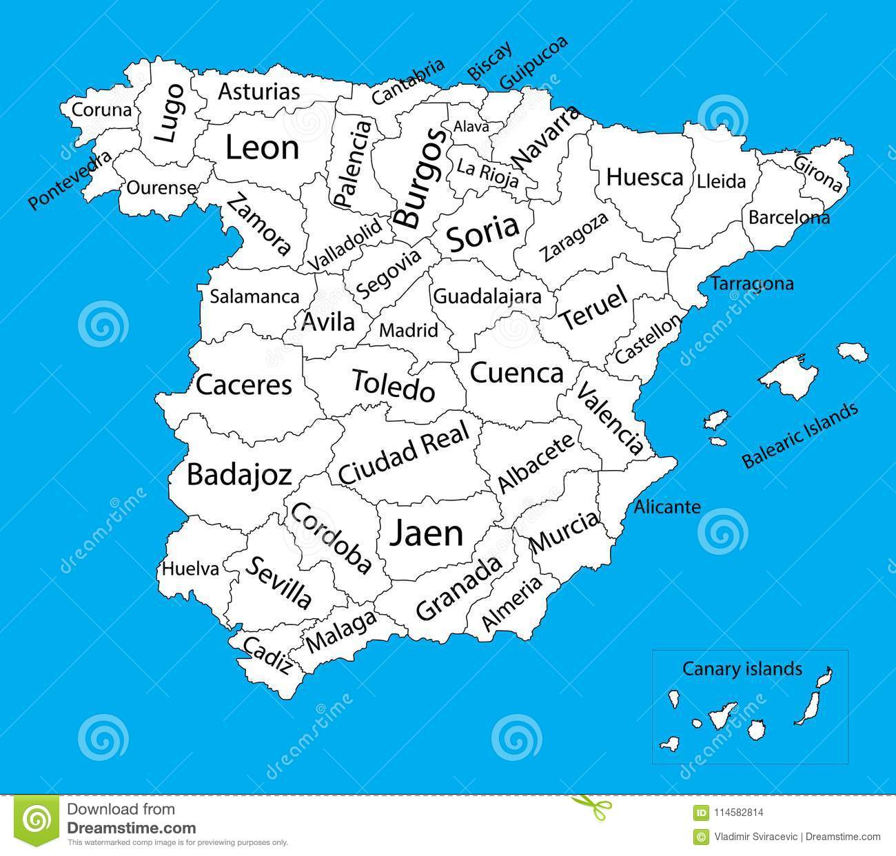 Editable Blank Vector Map Silhouette Of Spain Stock
