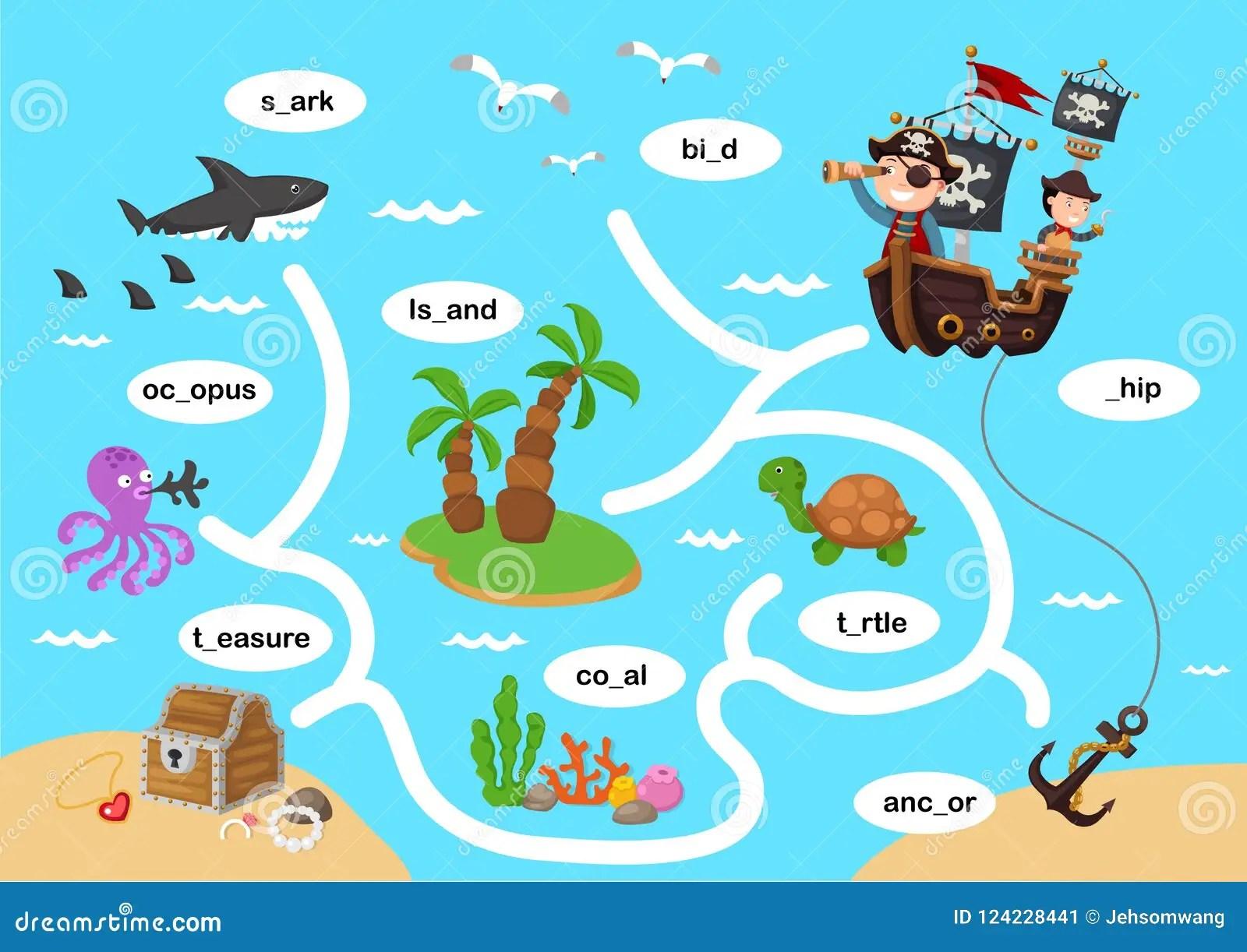 On The Sea Maze Game Cartoon Vector