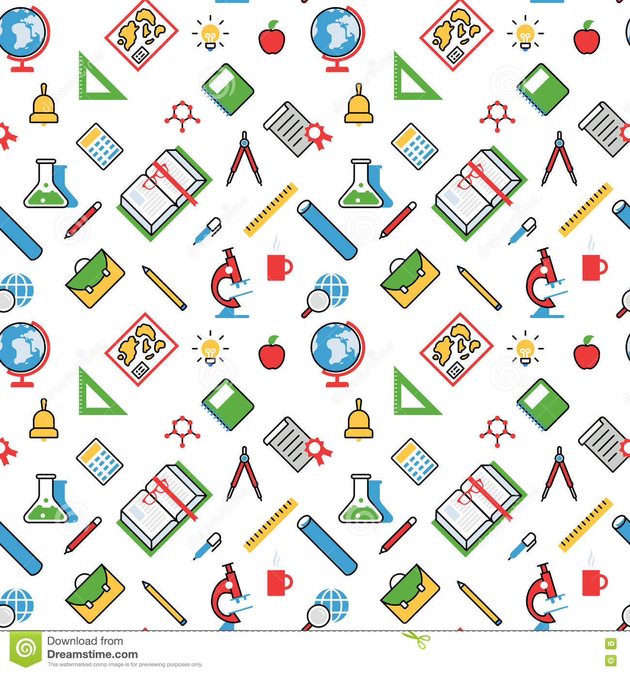 Education Objects Pattern Seamless Background Vector Texture Stock Vector