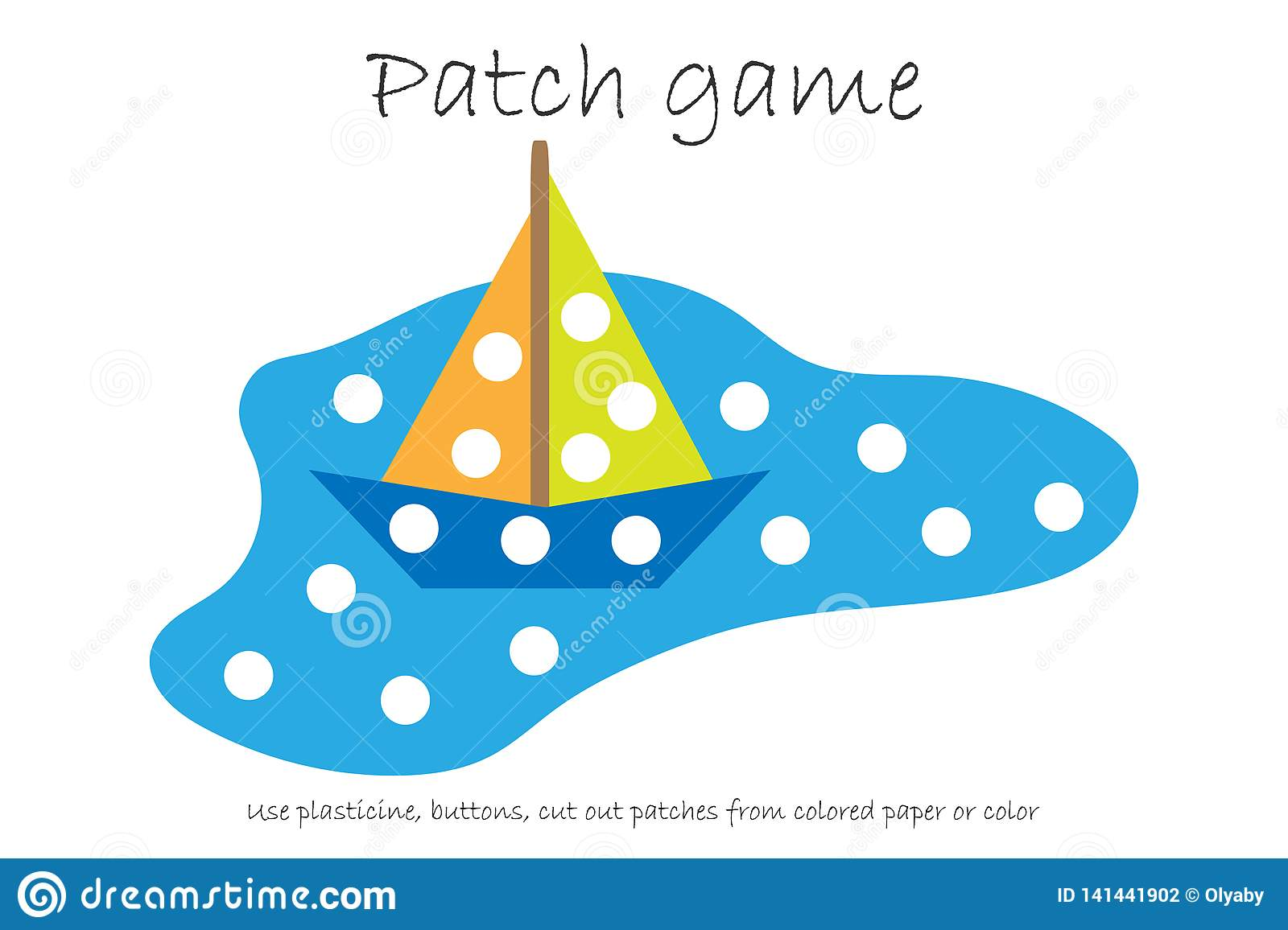 Education Patch Game Paper Boat In A Puddle For Children