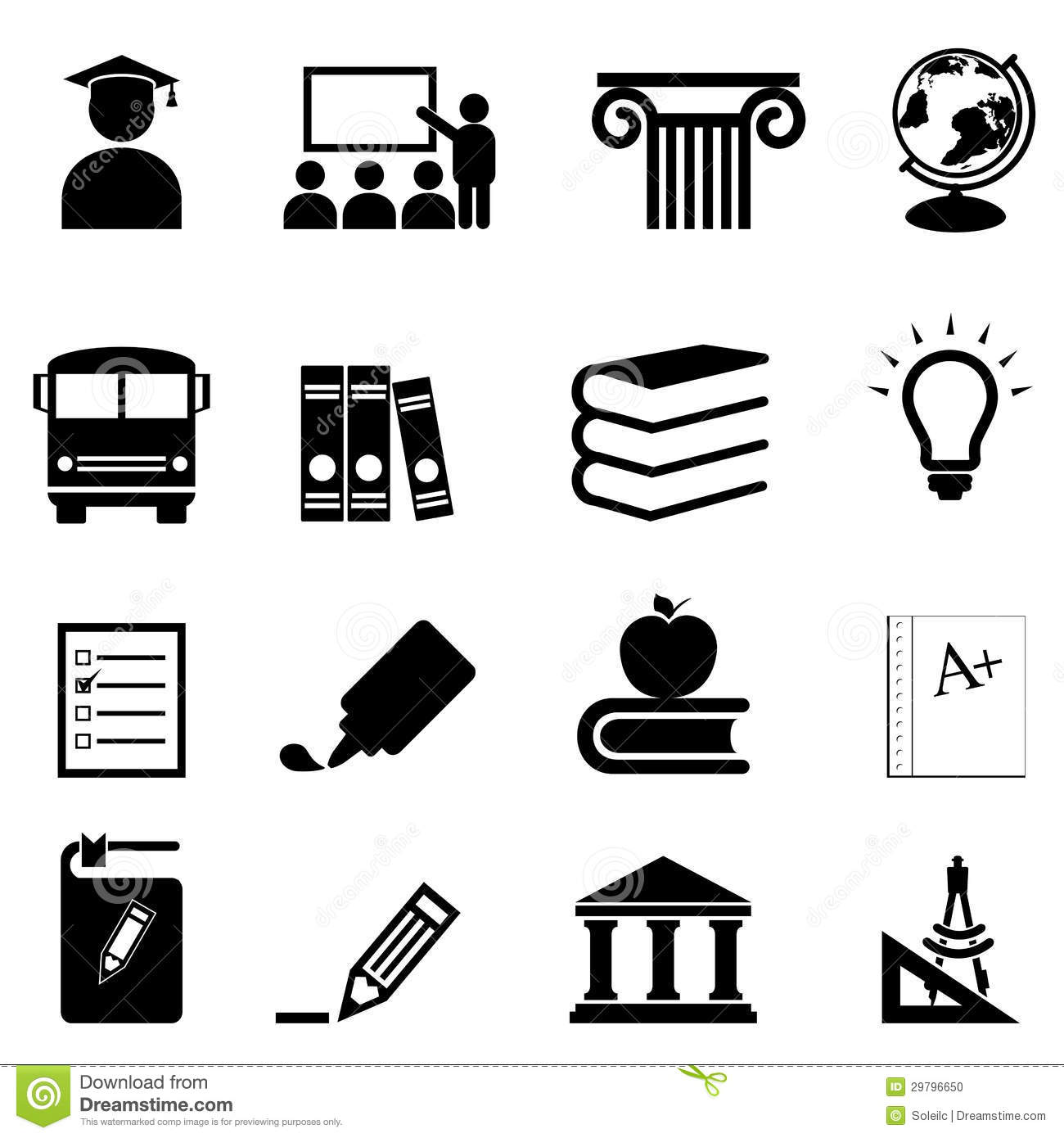Education And School Icons Stock Vector Illustration Of