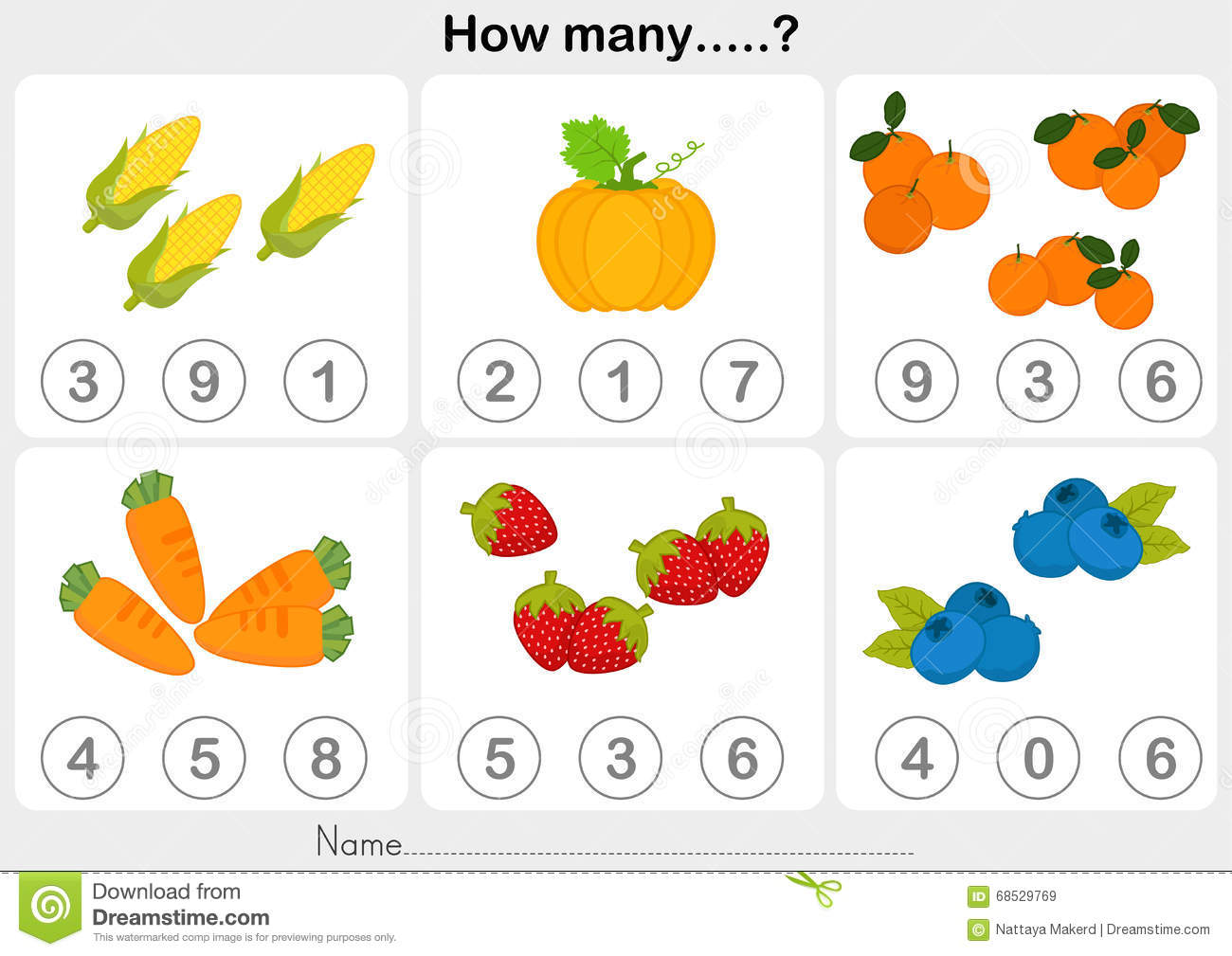 Education Worksheet Counting Object Kids Stock