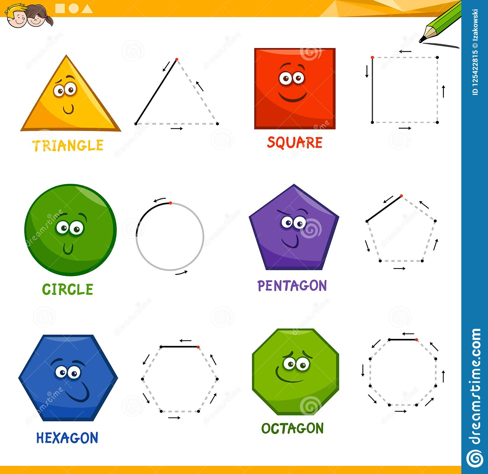 Basic Geometric Shapes Drawing Workbook Stock Vector