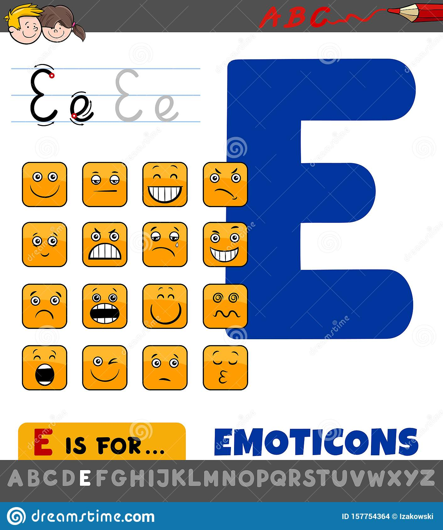 Letter E Worksheet With Cartoon Emoticons Stock Vector
