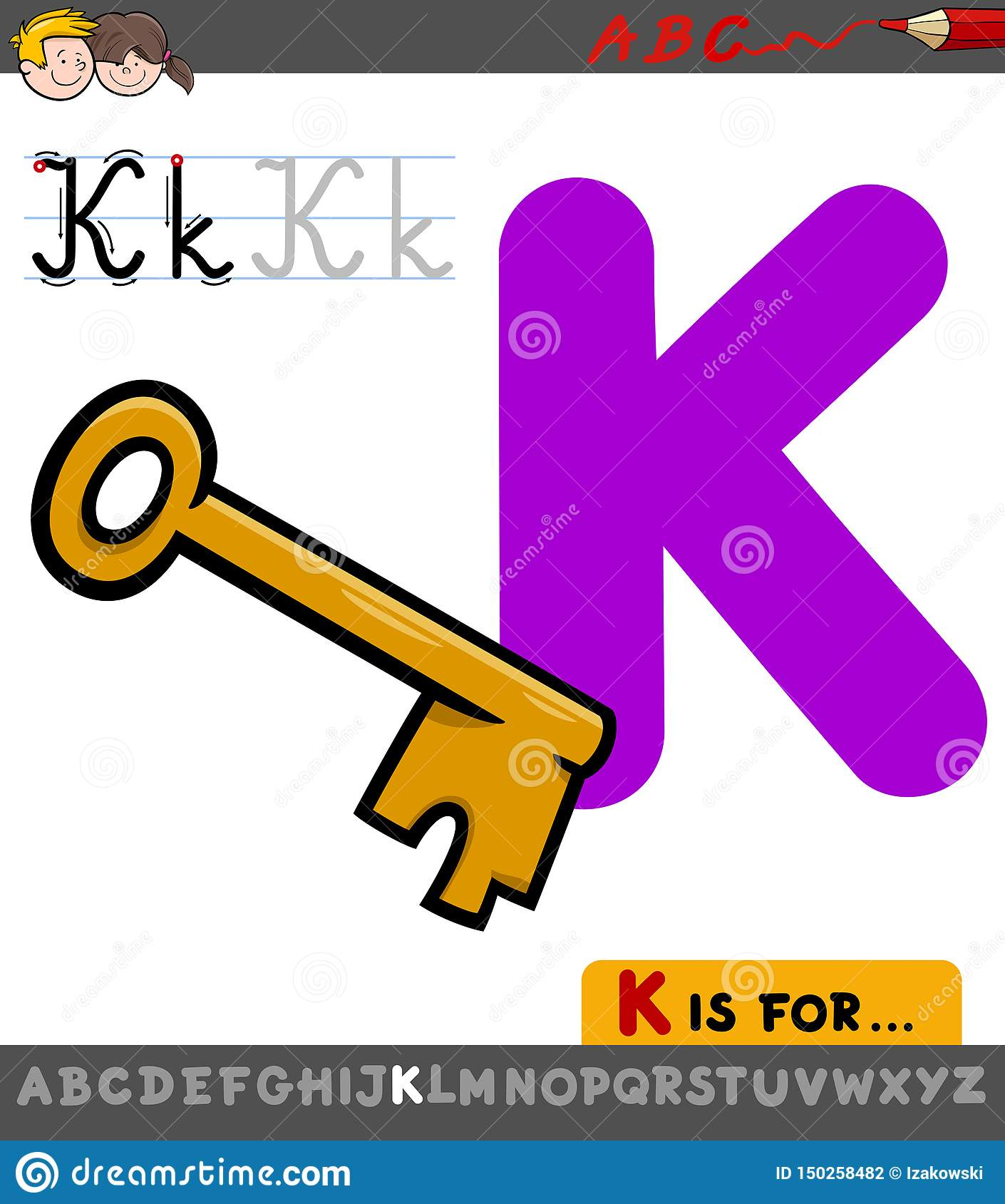 Letter K Worksheet With Cartoon Key Stock Vector