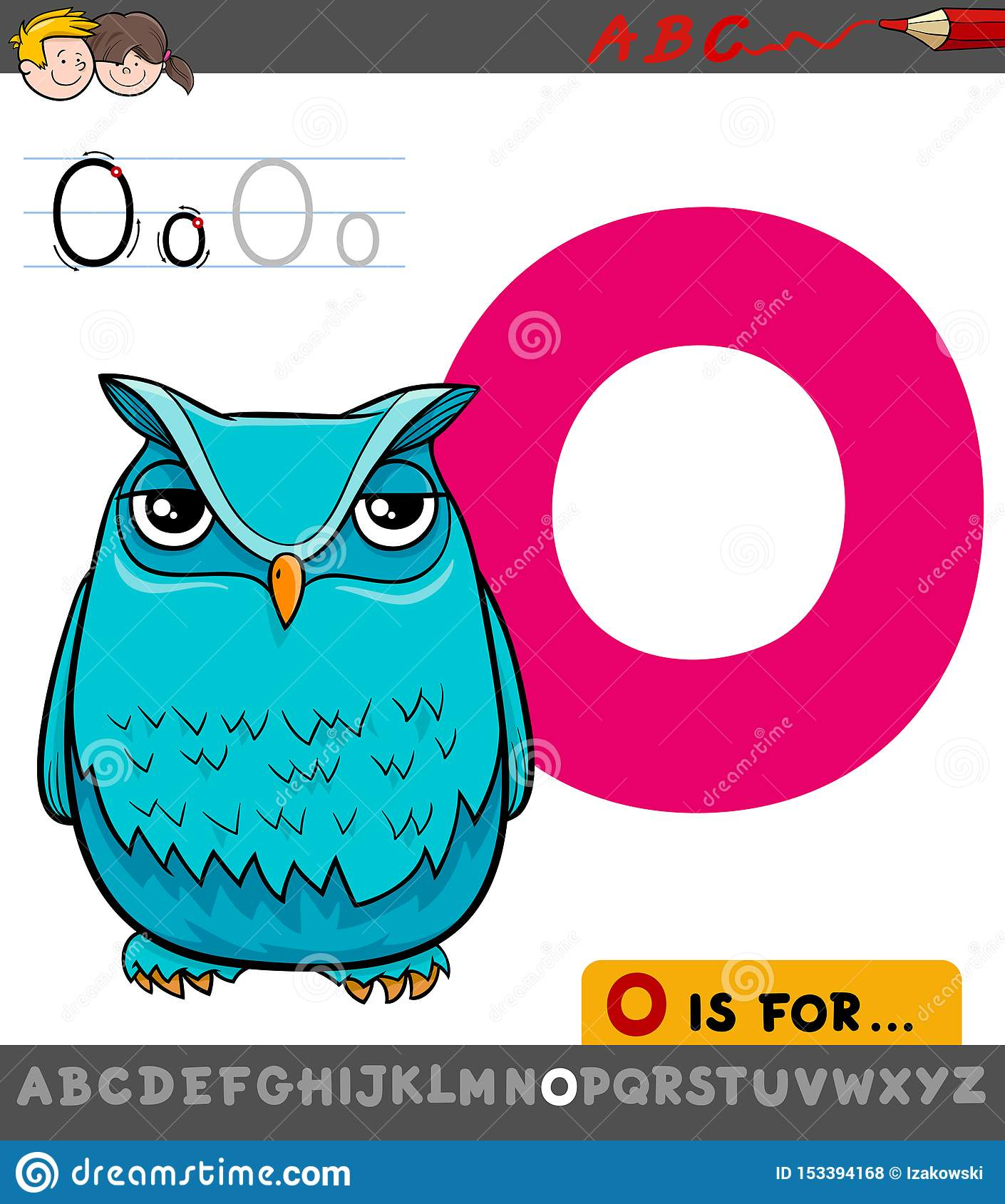 Letter O Worksheet With Cartoon Owl Stock Vector