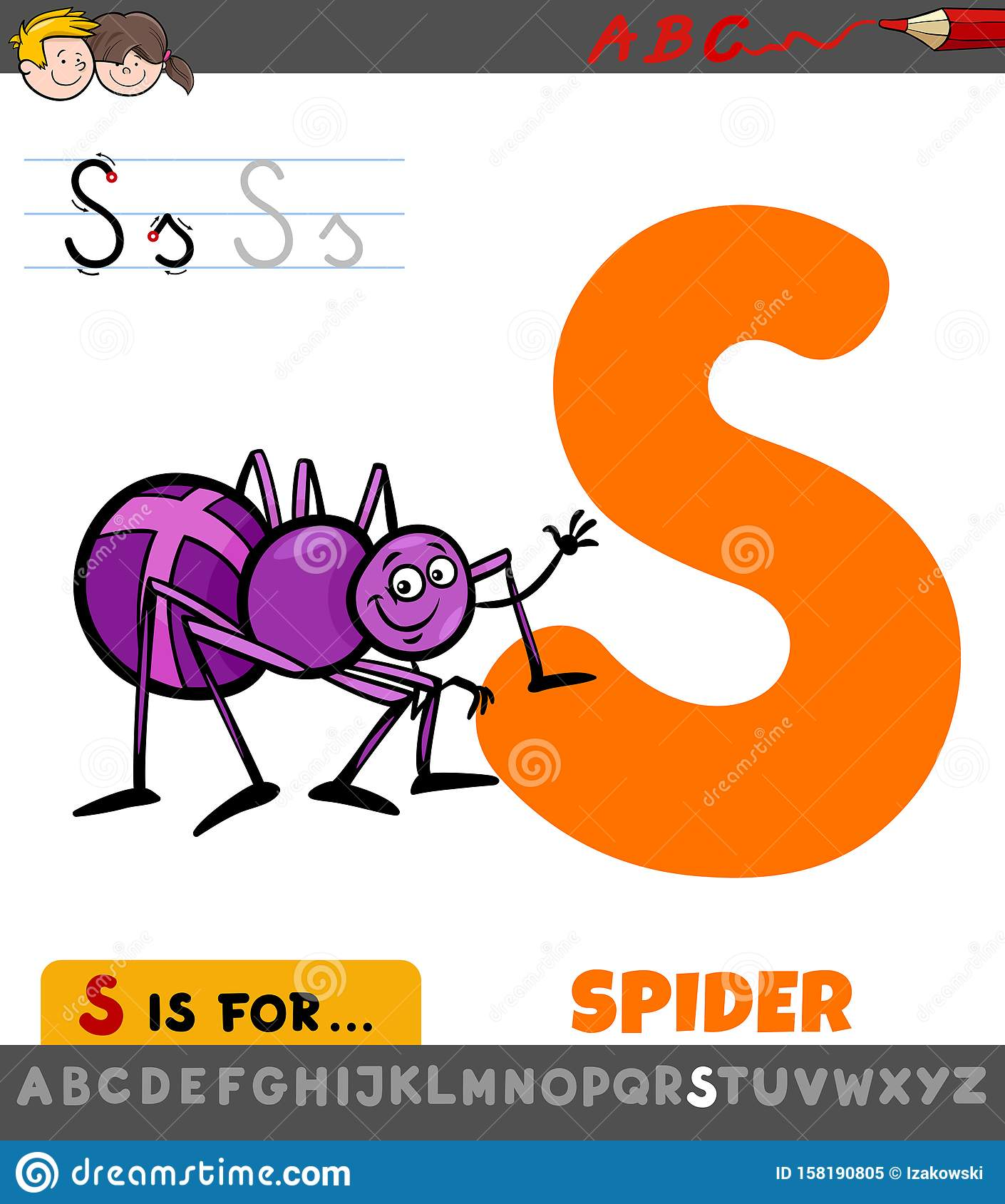 Letter S Worksheet With Cartoon Spider Stock Vector