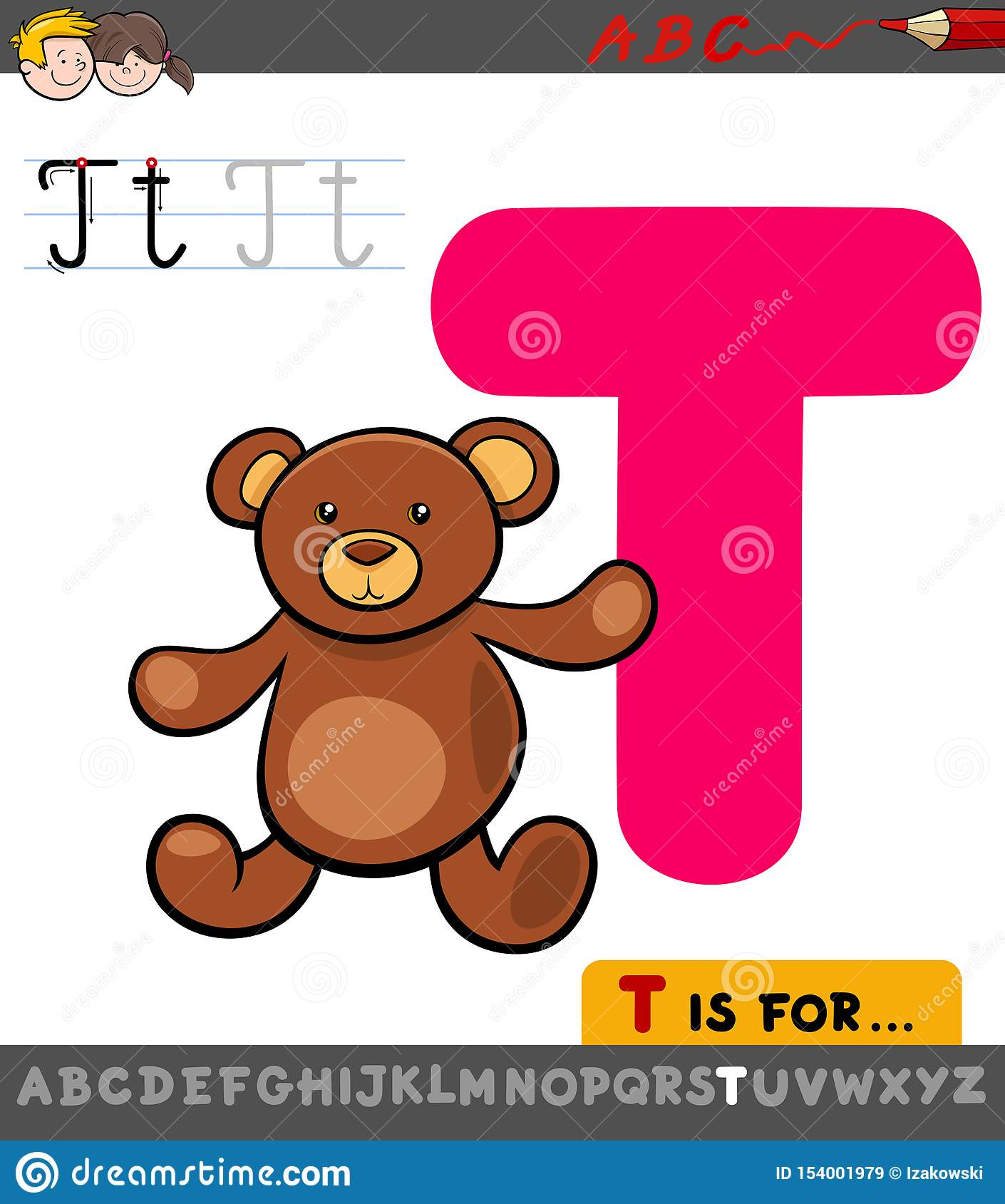 Letter T Educational Worksheet With Teddy Stock Vector