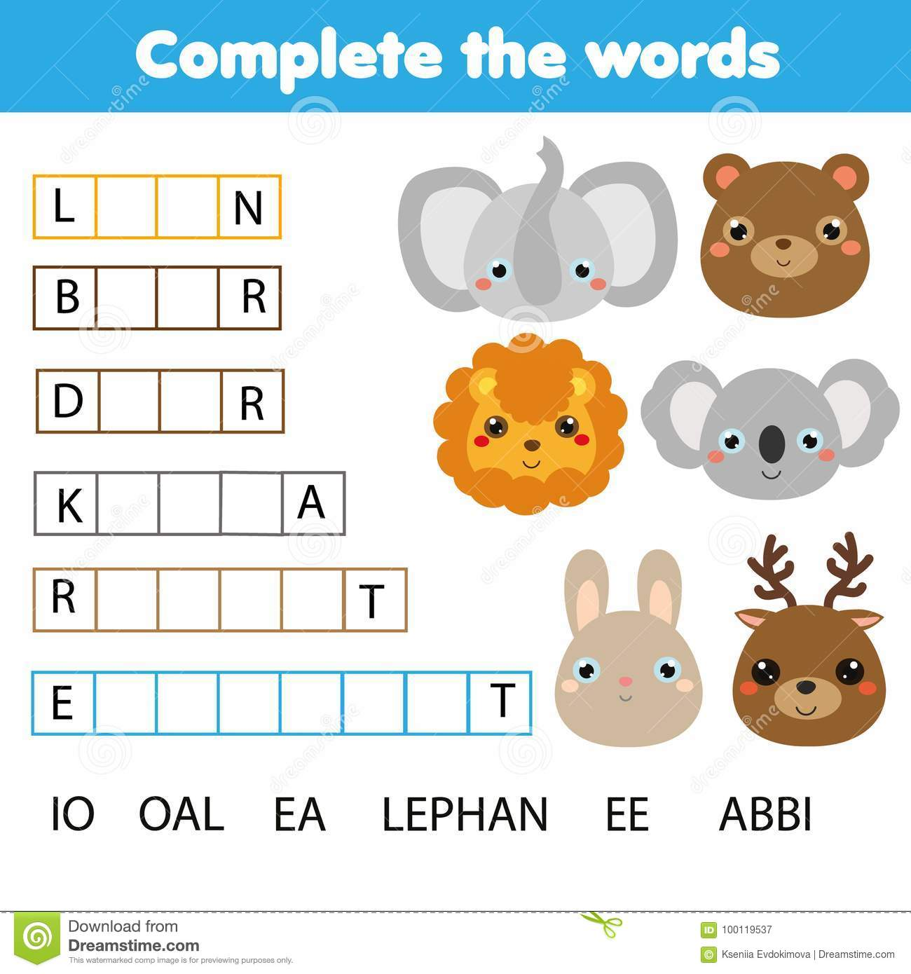 Educational Children Game Complete The Words Kids Activity Animals Theme Learning Vocabulary