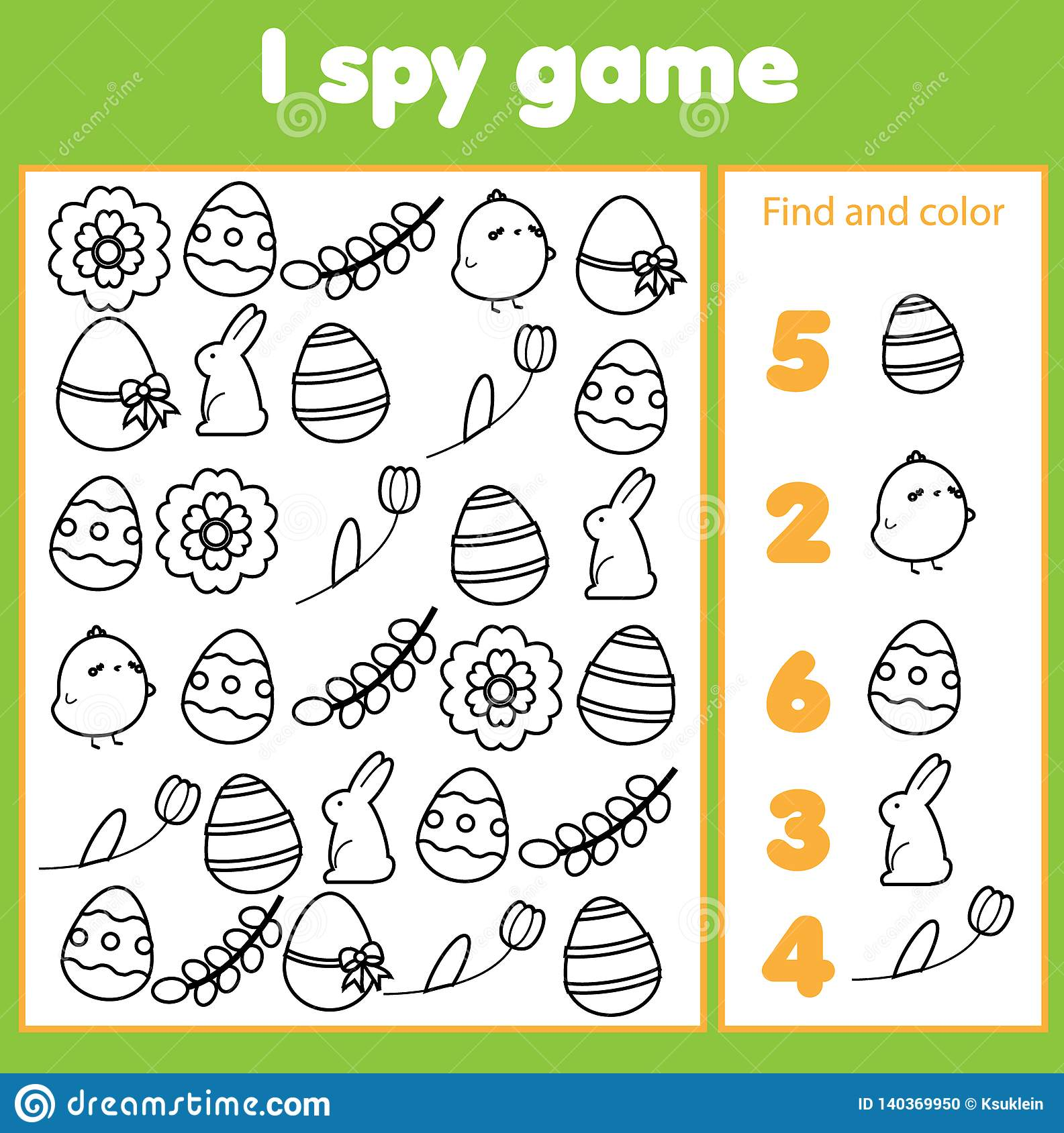Educational Children Game I Spy Sheet For Toddlers Find