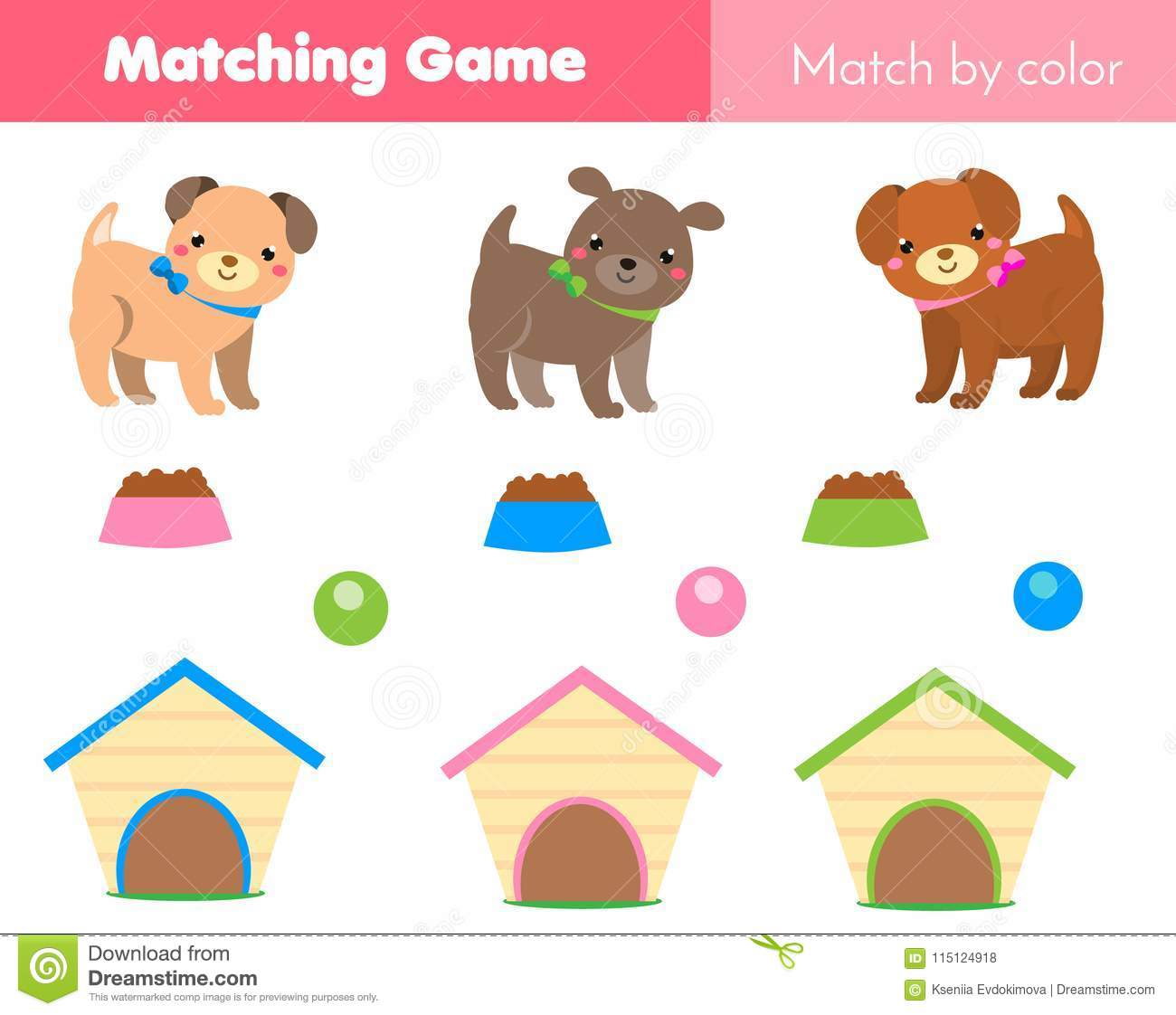Educational Children Game Match By Color Animals Theme